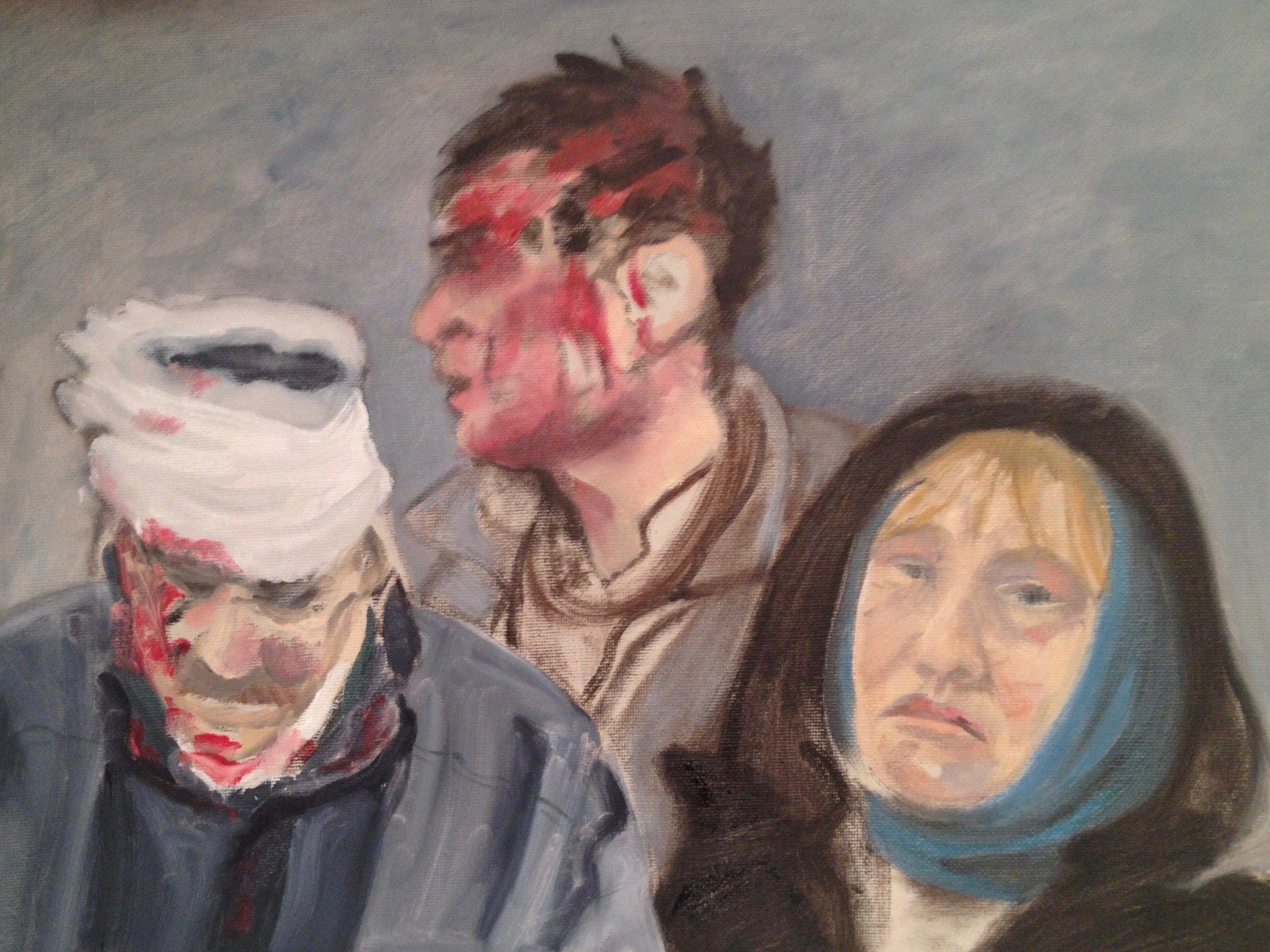 "Rag Tagged Rebellion / Ukraine 12"" x 16"" Oil on Canvas Board, 2014"