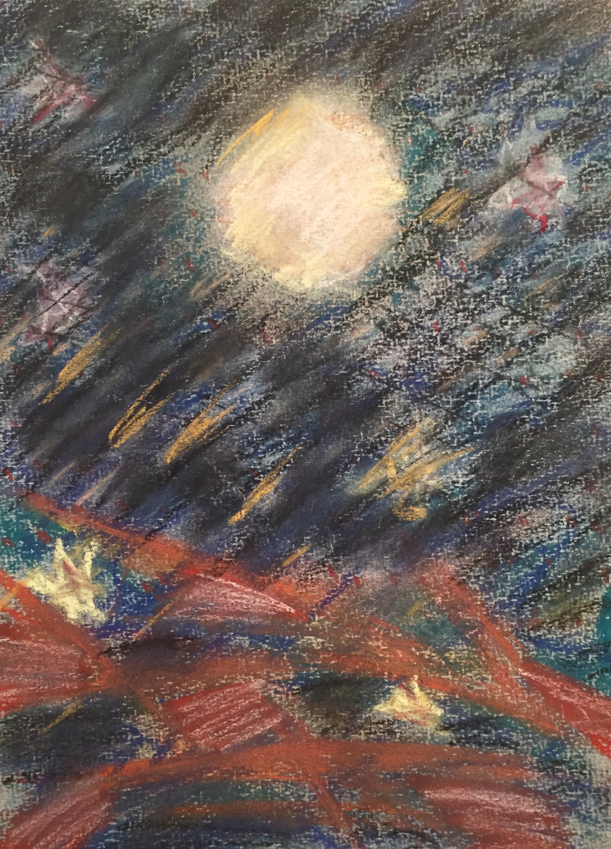 Full Moon Walk in the Catskills Two, 12 x 9 Pastel on Paper, 1996