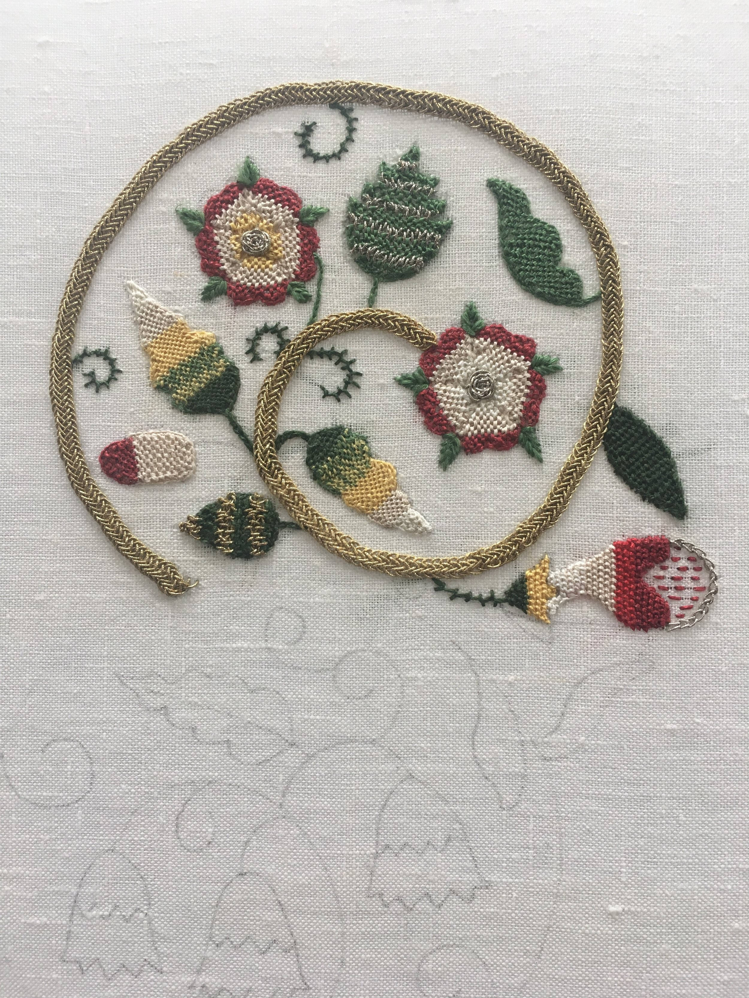 A sampler showing several different Jacobean embroidery stitches by Claire Thornton, tutor at The School for Historical Dress.