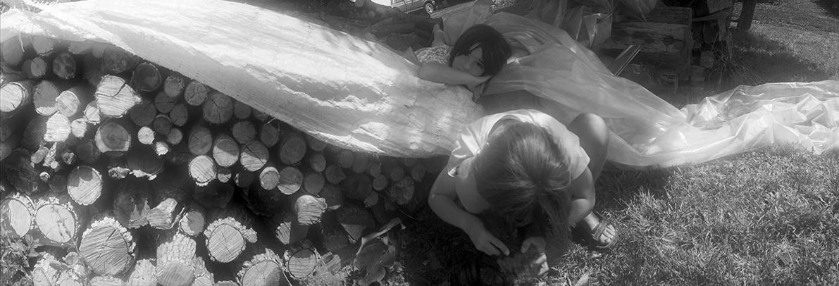 Girls at Woodpile