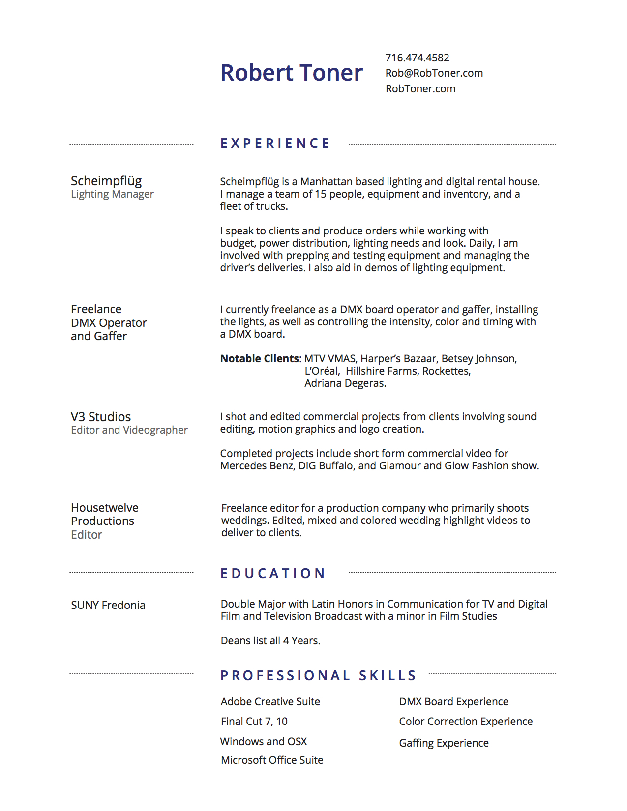 Resume Rob Toner