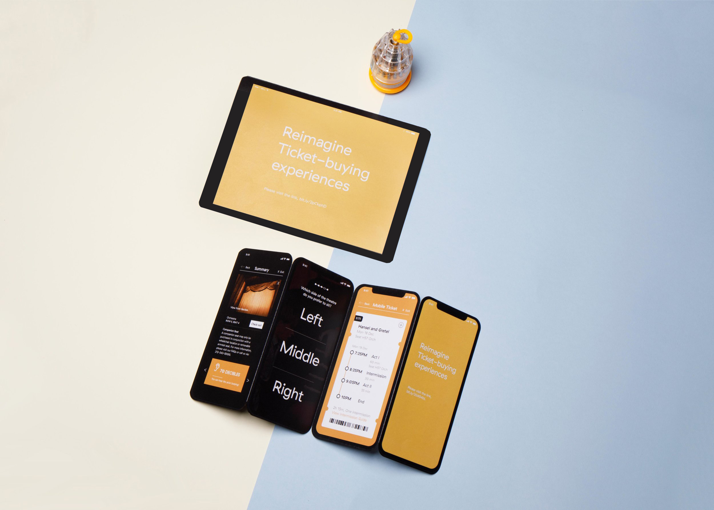 Desktop and mobile ticket-buying experience:  This part is specifically built for vision and hearing impaired customers. Designed in Sketch and Principle.  Click to play the desktop demo on the left