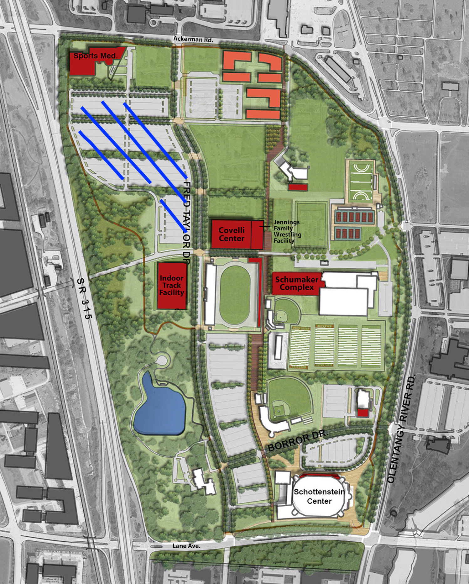 Parking Lot for Stieber Elite Wrestling Academy is highlighted in BLUE