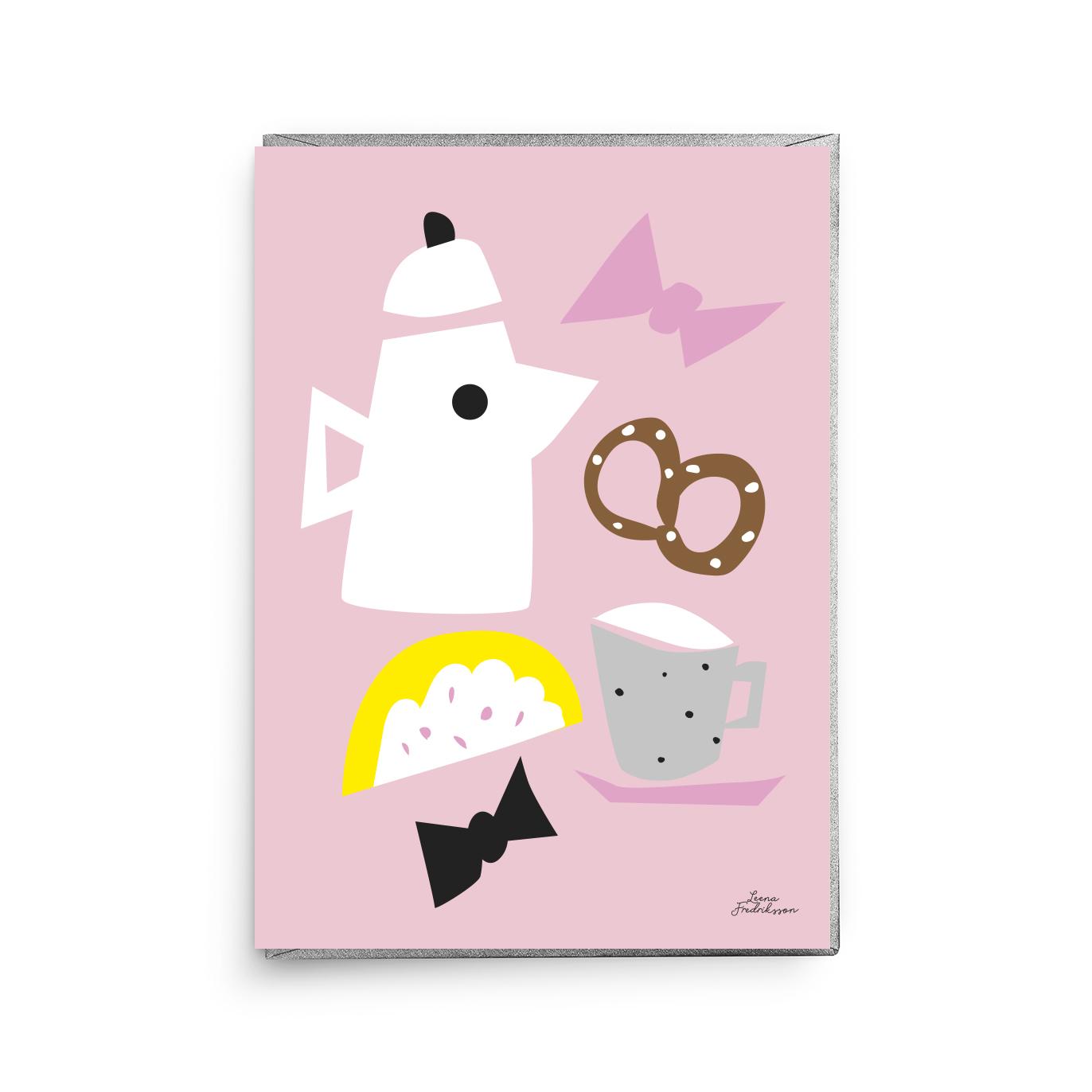 KOTI breakfast,  greeting card, pink