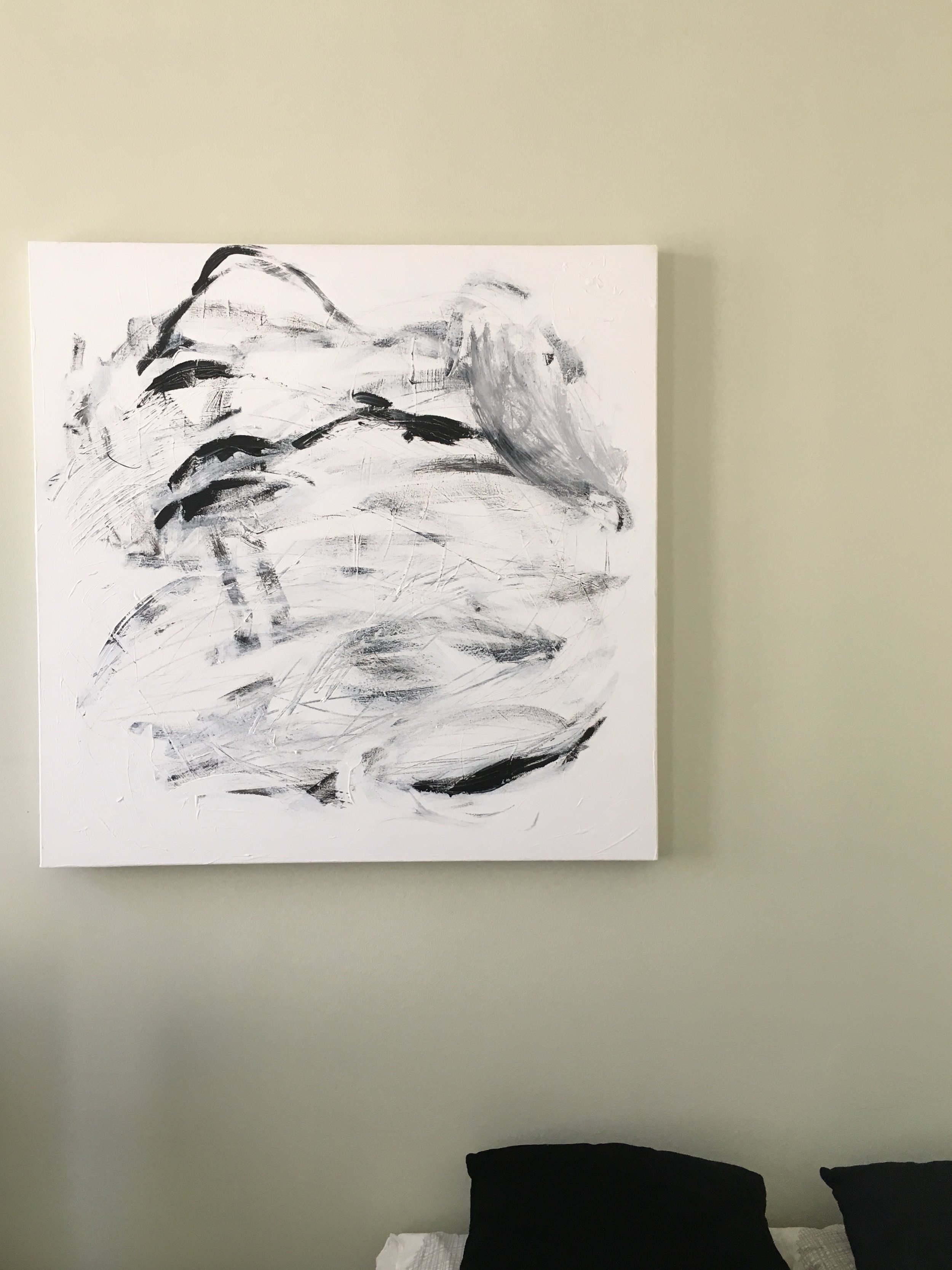 STREAM | 003, acrylic on canvas, 90 x 90 cm, SOLD  My painting in new home - & happy new owner!