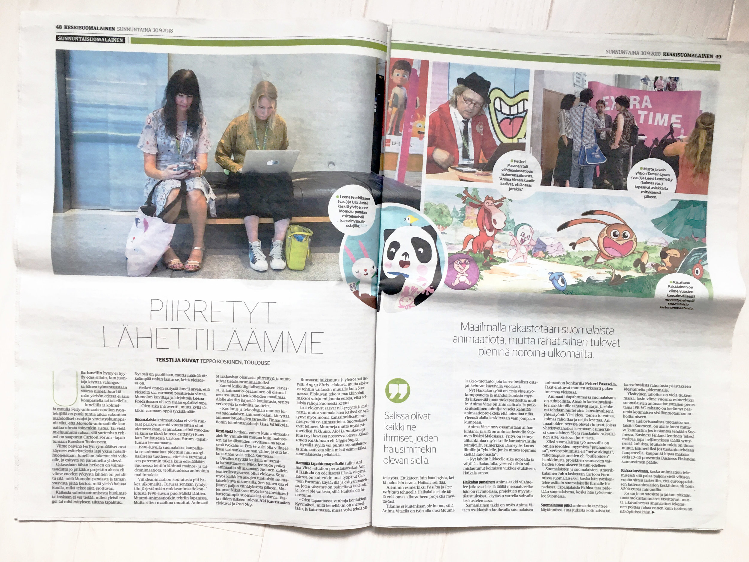 Flashback to Cartoon Forum 2018! Spotlight on Finland!  Momolu and Friends + FINNanimation at Sunnuntaisuomalainen newspaper. Text & photographs by Teppo Koskinen — Momolu and Friends animated TV series for pre-school kids (52x7'), 2D computer produced by  Ferly   created by Leena Fredriksson