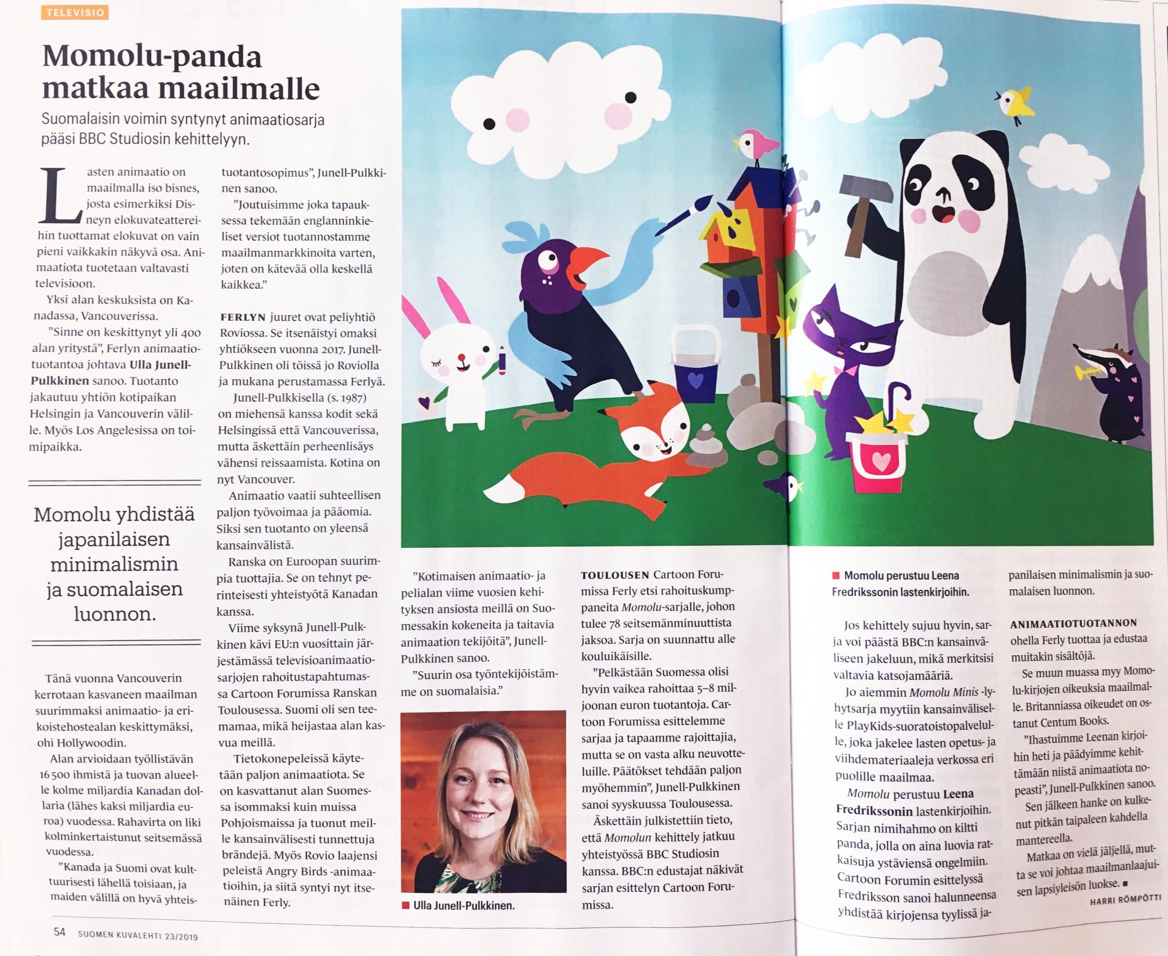 MOMOLU & LEENA FREDRIKSSON & Ferly Suomen Kuvalehti, text: Harri Römpötti, 23/201