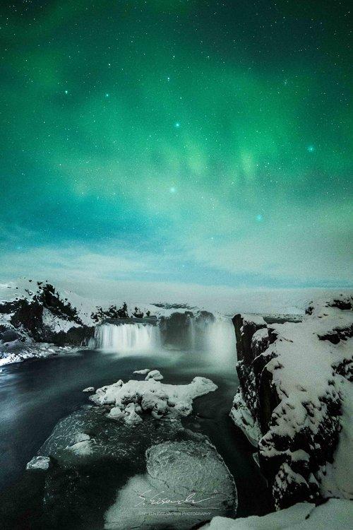 Lights above Godafoss, Iceland