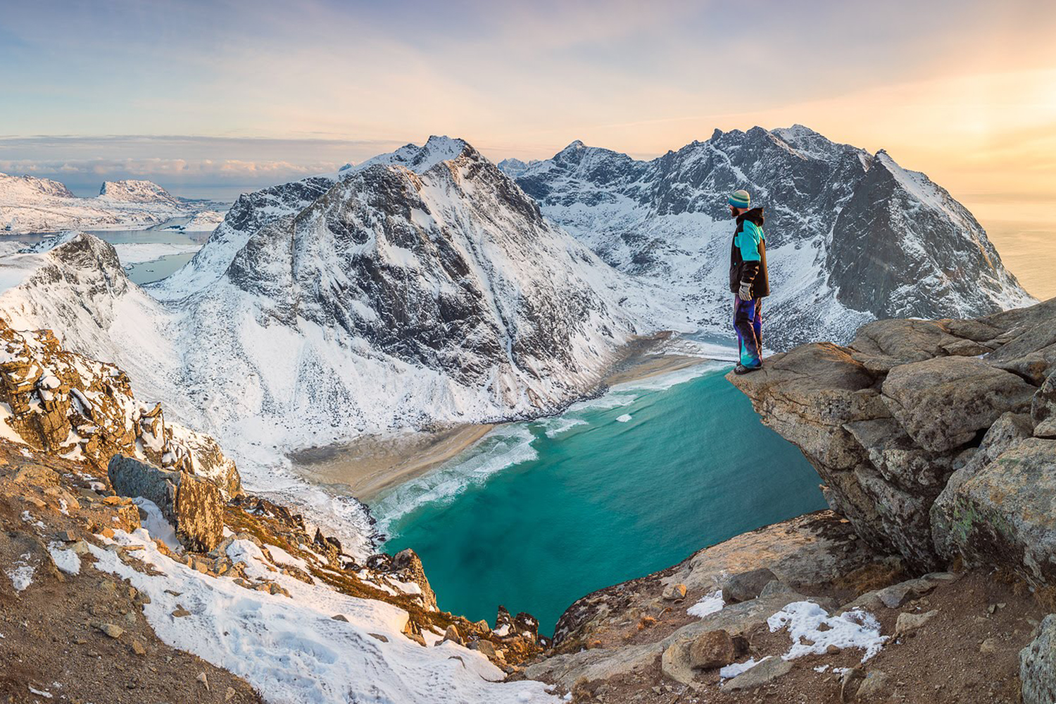 This panoramic image of Kvalvika and Vestvika beach, consists of three overlapping portrait oriented photos. I forgot my remote trigger so I had to use the 10 second timer and run to get the last frame. Tamron SP 24-70 F/2.8 @ 24 mm   F/9   1/13 sec   ISO 100
