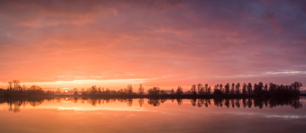 A beautiful early winter morning. When shooting panoramic photos like these, make sure your image doesn't get too dark when moving away from the sun. Of course, de difference in light is something natural and is a consequence of the sunrise, therefore part of the difference should be left untouched.Five images shot with a Tamron SP 24-70 F/2.8 @ 24 mm | F/11 | 2.5 sec | ISO 100