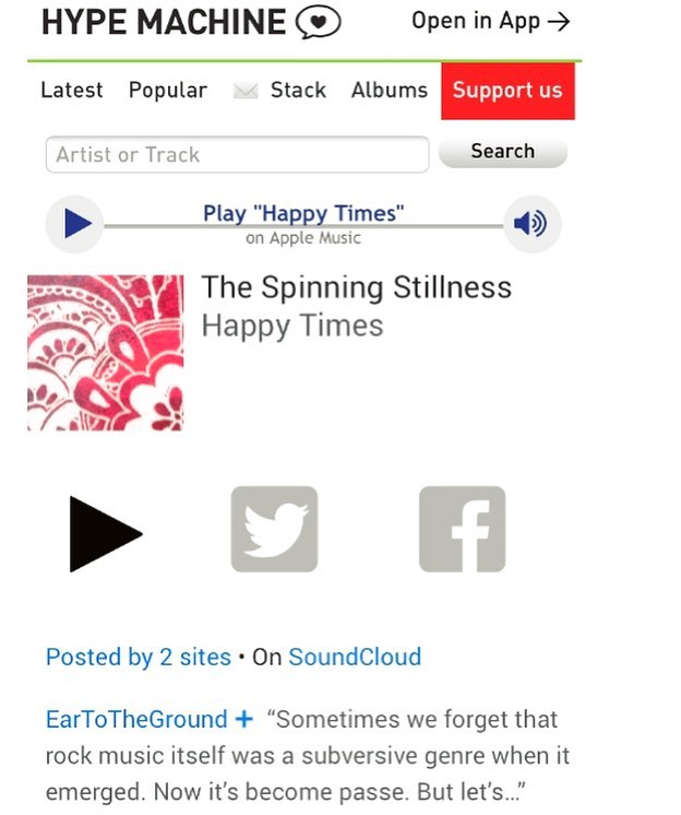 "Listen to our track ""Happy Times"" on Hype Machine. Thanks for the latest post @eartothegroundmusic. Link in bio. EP available now on Spotify, iTunes etc. . . . . #hypemachine #eartothegroundmusic #thespinningstillness #rock #indie #music #indiemusic #indierock #rocknroll #guitar #electricguitar #guitarist #amp #bass #bassguitar #drums #drumset #cymbals #distortion #vocals #voice #thestrokes #thekillers #arcticmonkeys #kingsofleon #postpunkrevival #orlando #florida  #orlandoflorida #orlandofl"