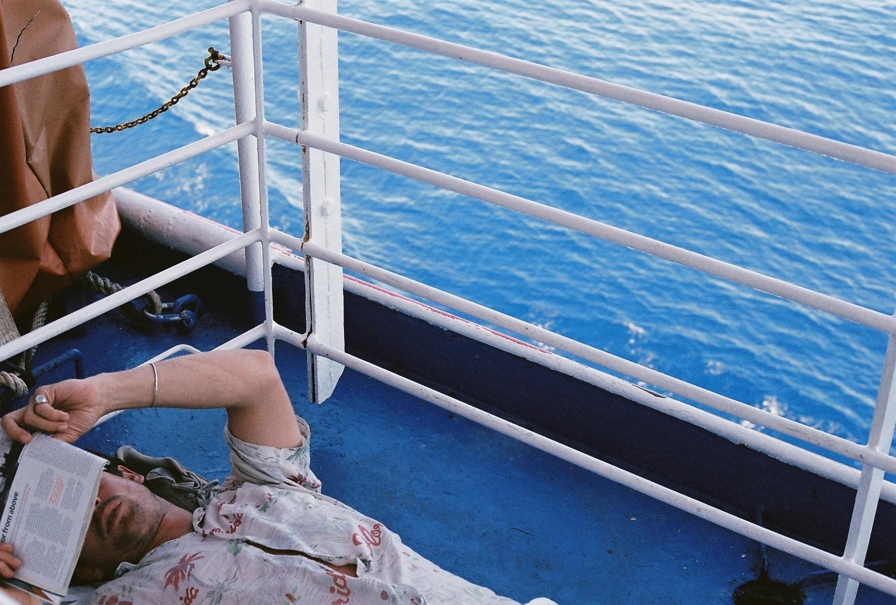 Lying on deck, Tuscany -> Corsica.