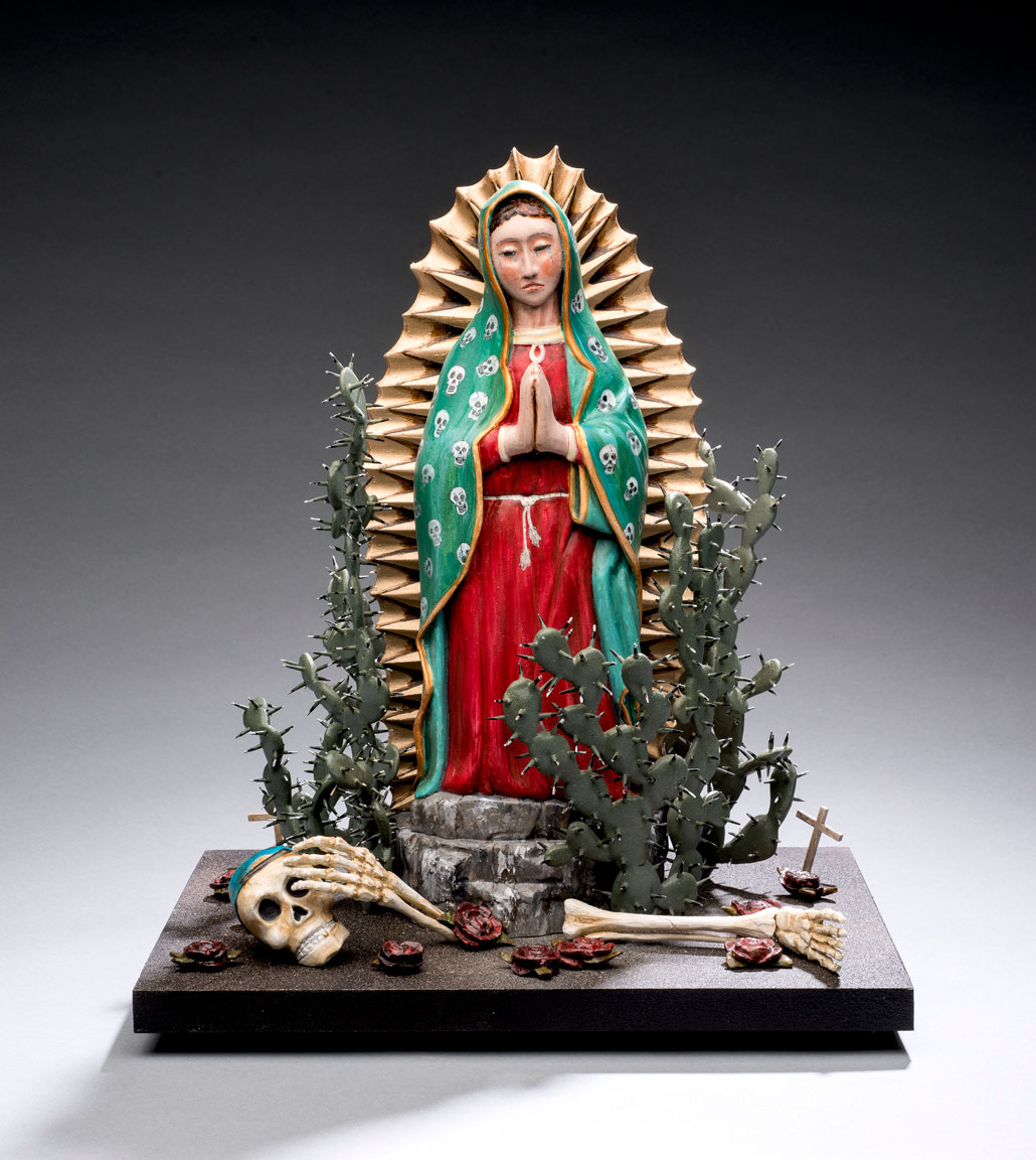 Virgen del camino de sueños , 2016. Carved and painted wood, 15¾ x 13 x 10¼ in. Collection of Curt, Christina, and Jonah Nonomaque. Photo © James Hart