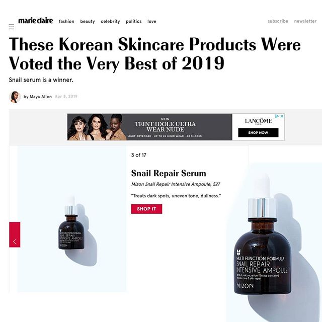 "Check out Marie-Claire's article ""These Korean Skincare Products Were Voted the Very Best of 2019"". So happy to see our Mizon Snail Repair Intensive Ampoule there proudly at number 3! According to Marie-Claire ""these products underwent a ""rigorous selection process,"" and less than 5 percent made the final cut. Elements like sales, consumer review scores, and global and community presence were all taken into consideration during the selection process. Ahead, find the 17 best Korean beauty products of 2019, according to Yoon, who walks us through why each deserve an award—and a chance with your skin."" #mizon #snailcream #snailmucus #snailampoule #marieclaire #kbeauty #kbeautybloggers #kbeautyskincare #kbeautyshop #irishbeautybloggers #skincareawards"