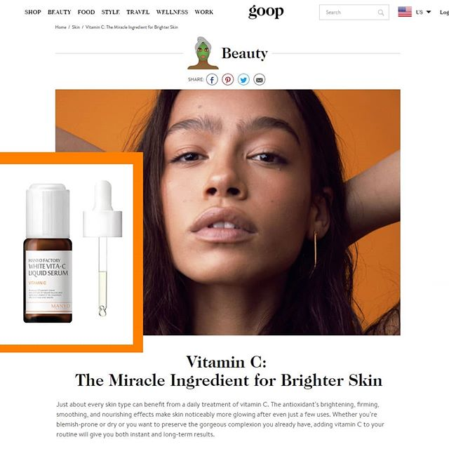 "Featured on Goop.com today - Vitamin C - ""Just about every skin type can benefit from a daily treatment of vitamin C. The antioxidant's brightening, firming, smoothing, and nourishing effects make skin noticeably more glowing after even just a few uses. Whether you're blemish-prone or dry or you want to preserve the gorgeous complexion you already have, adding vitamin C to your routine will give you both instant and long-term results."" #goop #vitamincserum #kbeauty #manyofactory #irishbeautybloggers #instaskincare #antiageing #skincaretips #skincare #antiageing #glowingskin #clearskin"