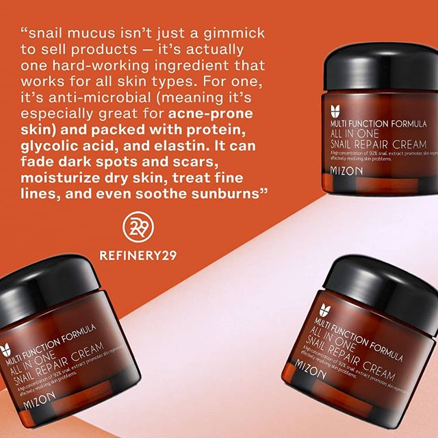 """..snail mucus isn't just a gimmick to sell products — it's actually one hard-working ingredient that works for all skin types. For one, it's anti-microbial (meaning it's especially great for acne-prone skin like mine) and packed with protein, glycolic acid, and elastin. It can fade dark spots and scars, moisturize dry skin, treat fine lines, and even soothe sunburns  I'm pretty adventurous when it comes to trying new products, but even I was a bit freaked out about putting snail slime on my face. But with an open mind (and a few lingering acne scars I was looking to obliterate), I forged ahead with Mizon All In One Snail Repair Cream. It's so silky and light that it almost feels like a gel, and it quickly sunk into my skin. This particularly potent formula contains 92% snail mucus extract, but you'd never know that by the scent, which smells like nothing at all.  After smoothing it on, my face felt soft and moisturized, not sticky or tacky like I had expected. Almost immediately, my face was visibly glowing, and two months later, the stubborn acne scars on my chin are as good as gone. Now, the cream is an irreplaceable part of my skin-care routine."" from The Face Cream That Finally Faded My Acne Scars on Refinery29.com  #snailmucus #kbeauty #koreanbeauty #skincaretips #acnescars #healthyskin #instaskincare #antiageing #mizon #damsel #glowingskin #snailcream #irishbeautybloggers"