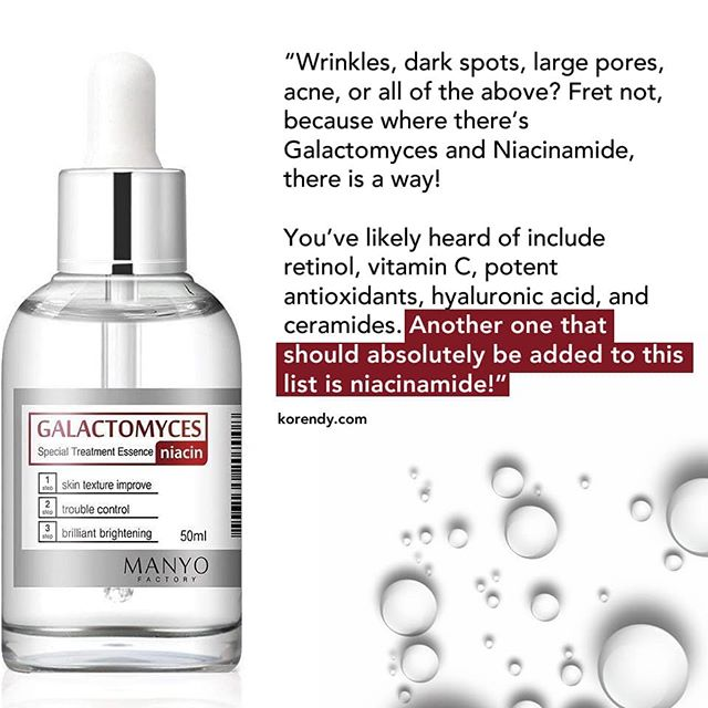 "Galactomyces (pronounced ""galacto-my-sees""!) Niacin Special Treatment Essence  is one of the most extraordinary multipurpose products on the market.  It is a lightweight liquid formula containing a pure concentration of 97% galactomyces extract, 2% niacinamide (B3) and the remaining 1% is made up of plant extracts and sodium hyaluronate (also known as Hyaluronic Acid) which effectively restores the skin's vitality, evens skin tone, fights pigmentation, fades acnes scars, moisturises, soothes irritated skin, minimises pore size, prevents inflammation and leaves your skin brighter and tighter!  #manyofactory #manyoessence #kbeauty #koreanbeauty #irishbeautybloggers #skincare #skincaretips #poresnomore #problemskin #antiageingskincare"