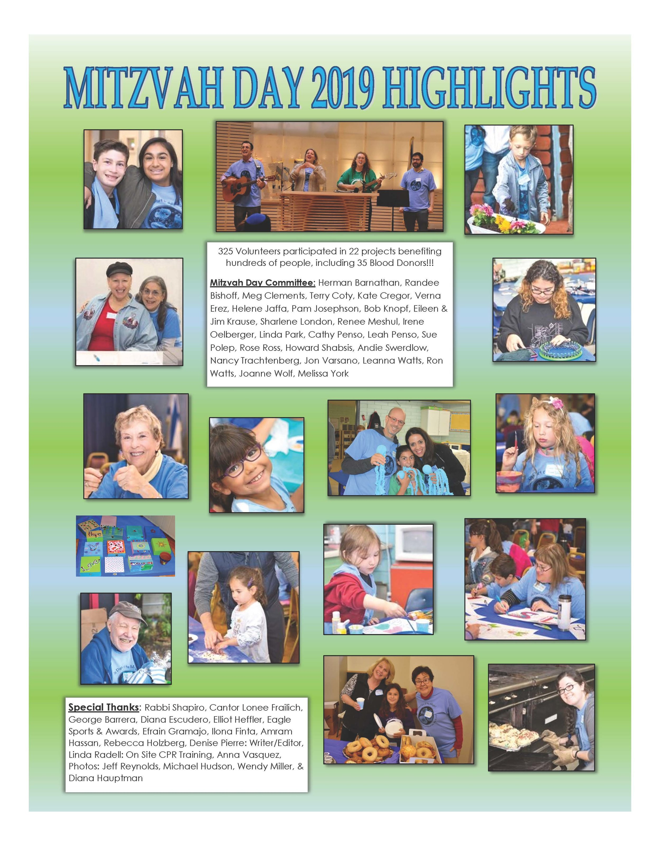 MITZVAH DAY HIGHLIGHTS FROM THE AKIBA BULLETIN