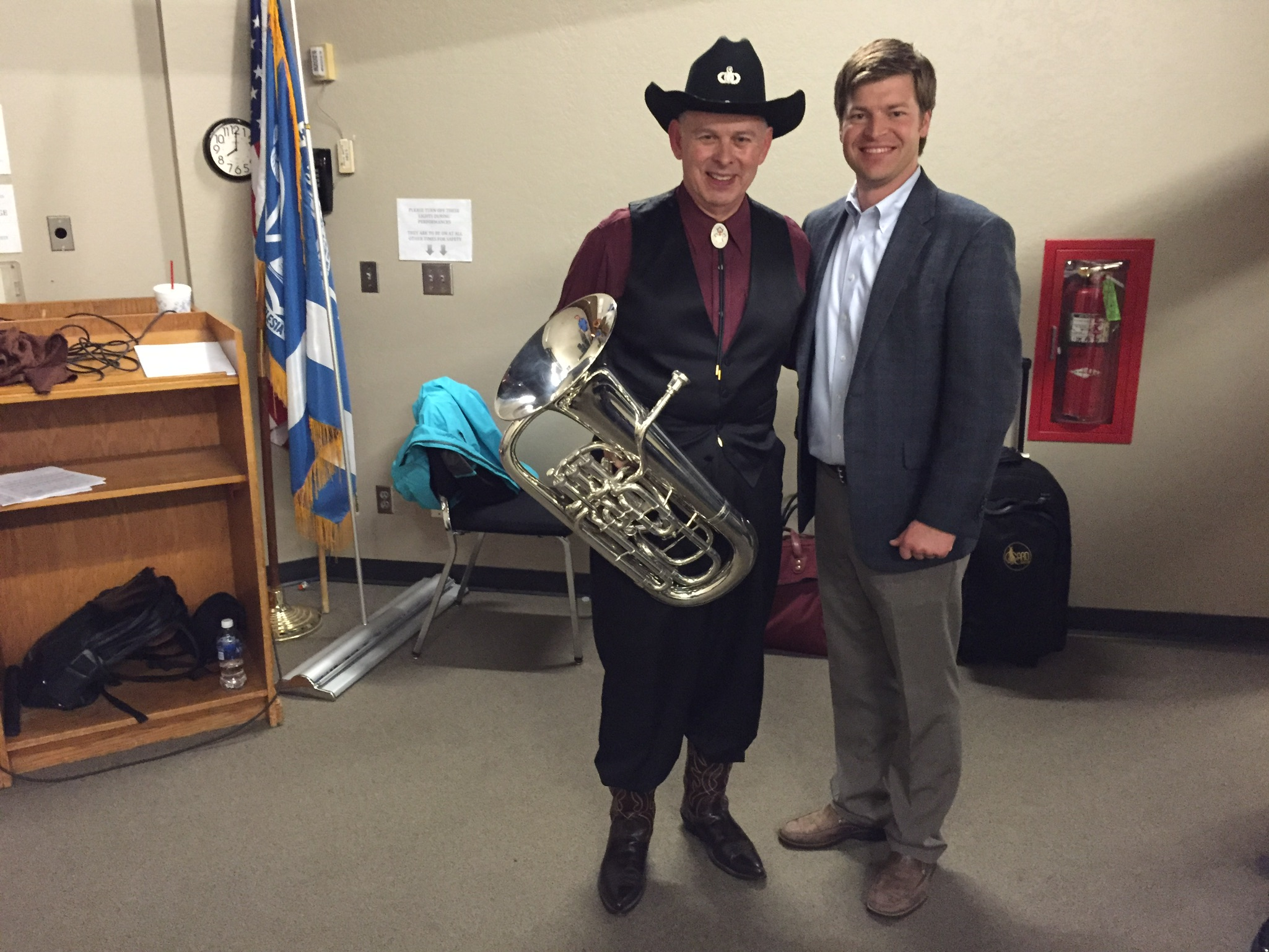 """Backstage after Dr. Bowman's performance of """"Yellow Rose of Texas""""."""