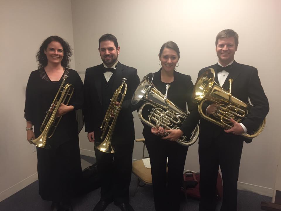 Extra low brass for the Ft. Smith Symphony performance of Janacek Sinfonietta. L to R Jennifer Jester, Jason Hausback, Laura Ketchum, me.