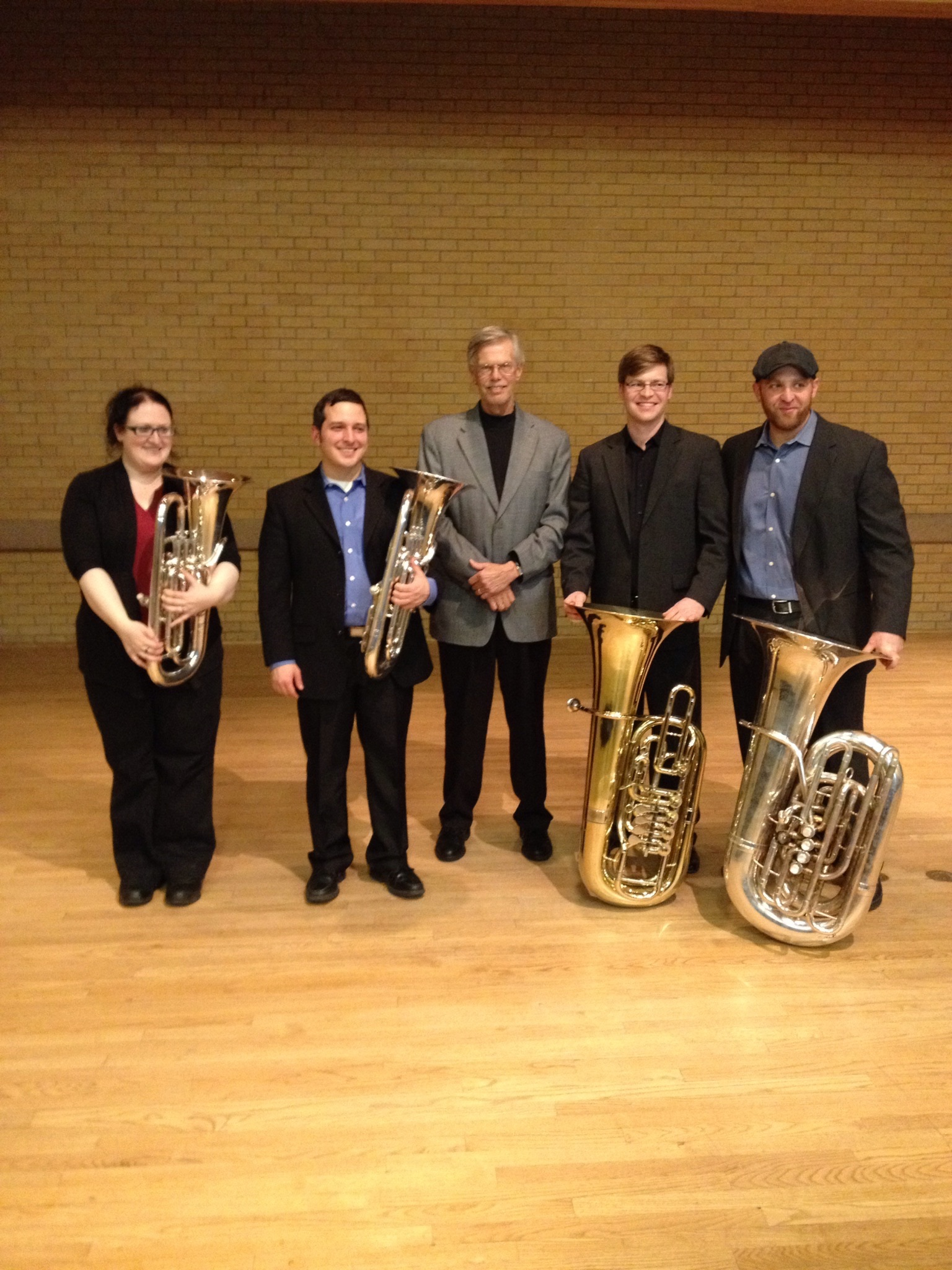 Founders Quartet with Don Little after our UNT performance. Jamie Lipton, Danny Chapa, Don Little, me, Steve Kunzer.