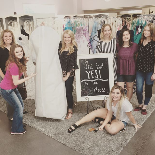 Marissa and her friends helped her pick out the perfect dress today at Hart's! #hartsbride #love #idaho #idahobride #imgettingmarried #wedding2017 #byui