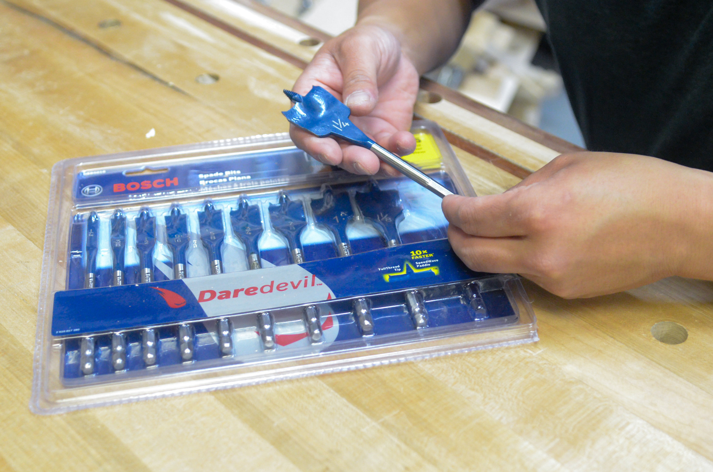 """The Bosch Davedevil Standard Spade Bit Set (10-Piece) comes with bits sized 1/4"""" to 1-1/4"""" in 1/8"""" increments."""