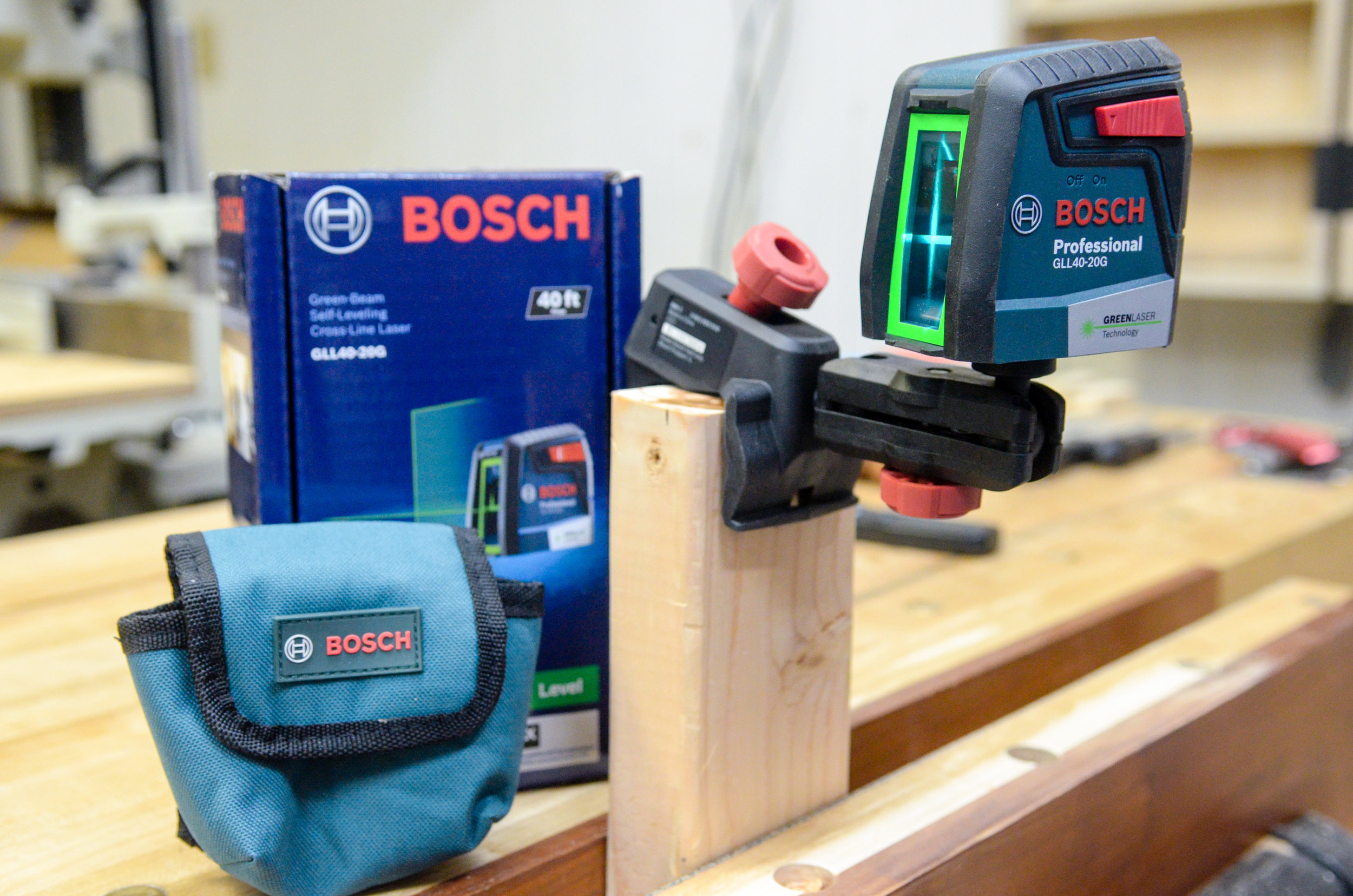 Bosch 40-ft laser level attached to the included mounting bracket.