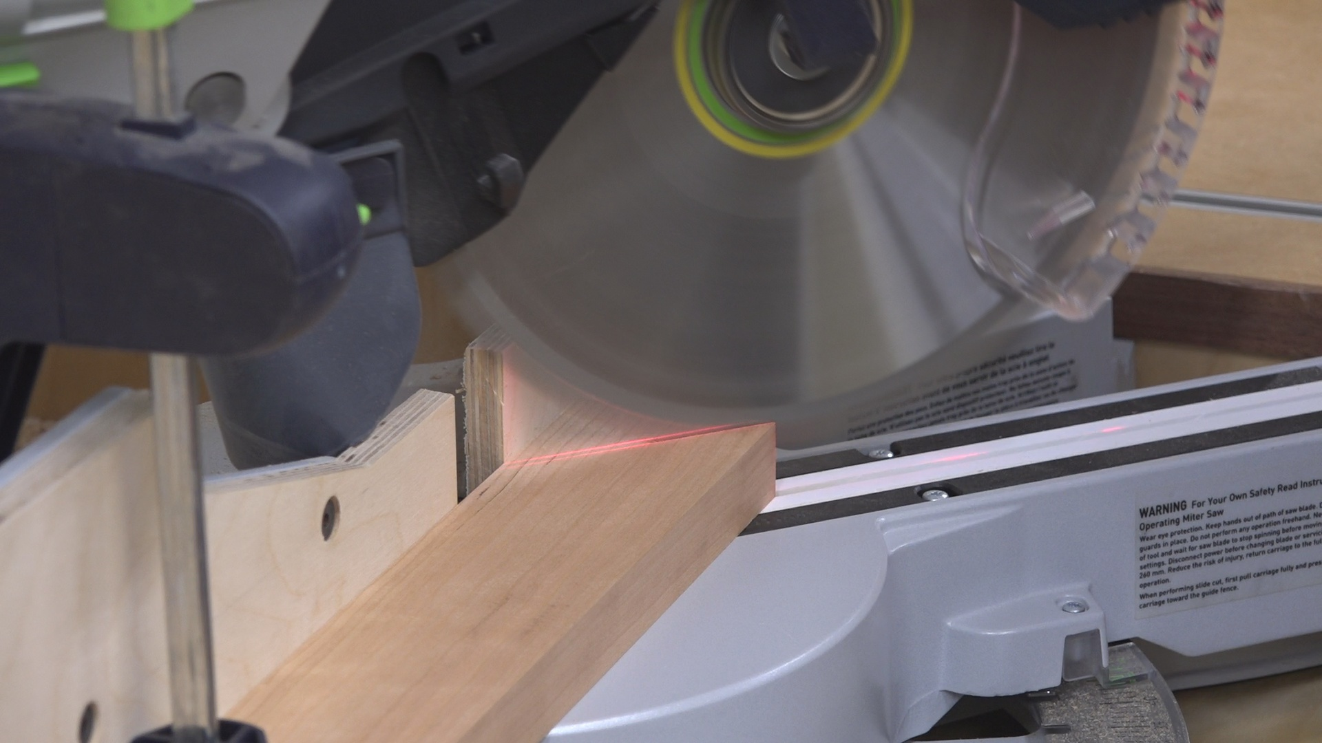 I first cut the 45 degree miter on the miter saw.