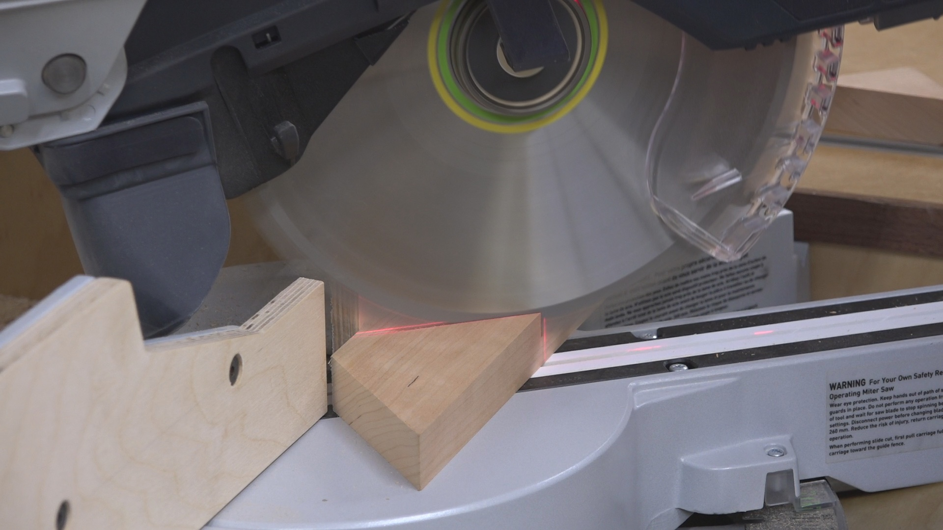 I then cut the 53 degree miter on the miter saw.