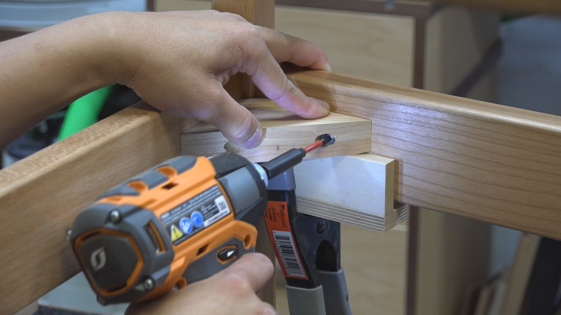 I pre-drilled and drove the screw in for the corner blocks Using the Ridgid Octane 18V Hammer Drill/Driver and 6-Mode Impact Driver.