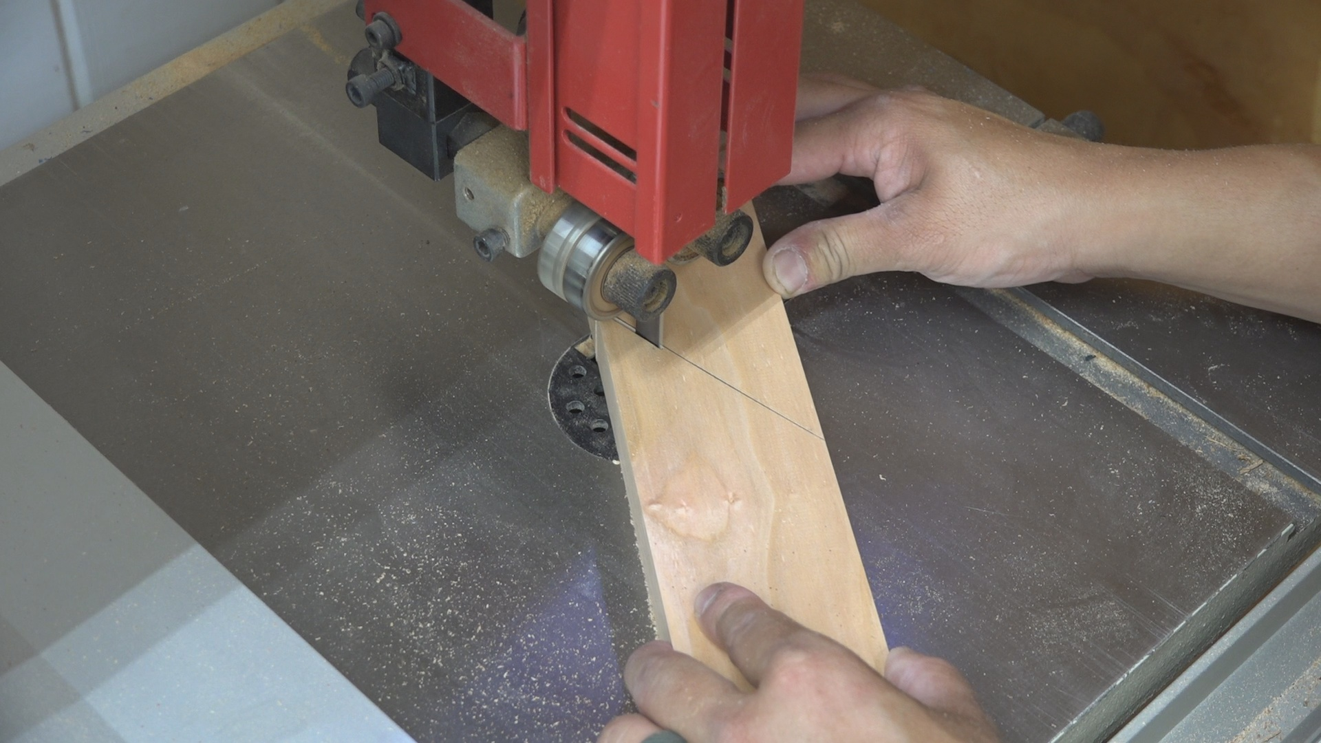 I cut the traced line on the bandsaw.
