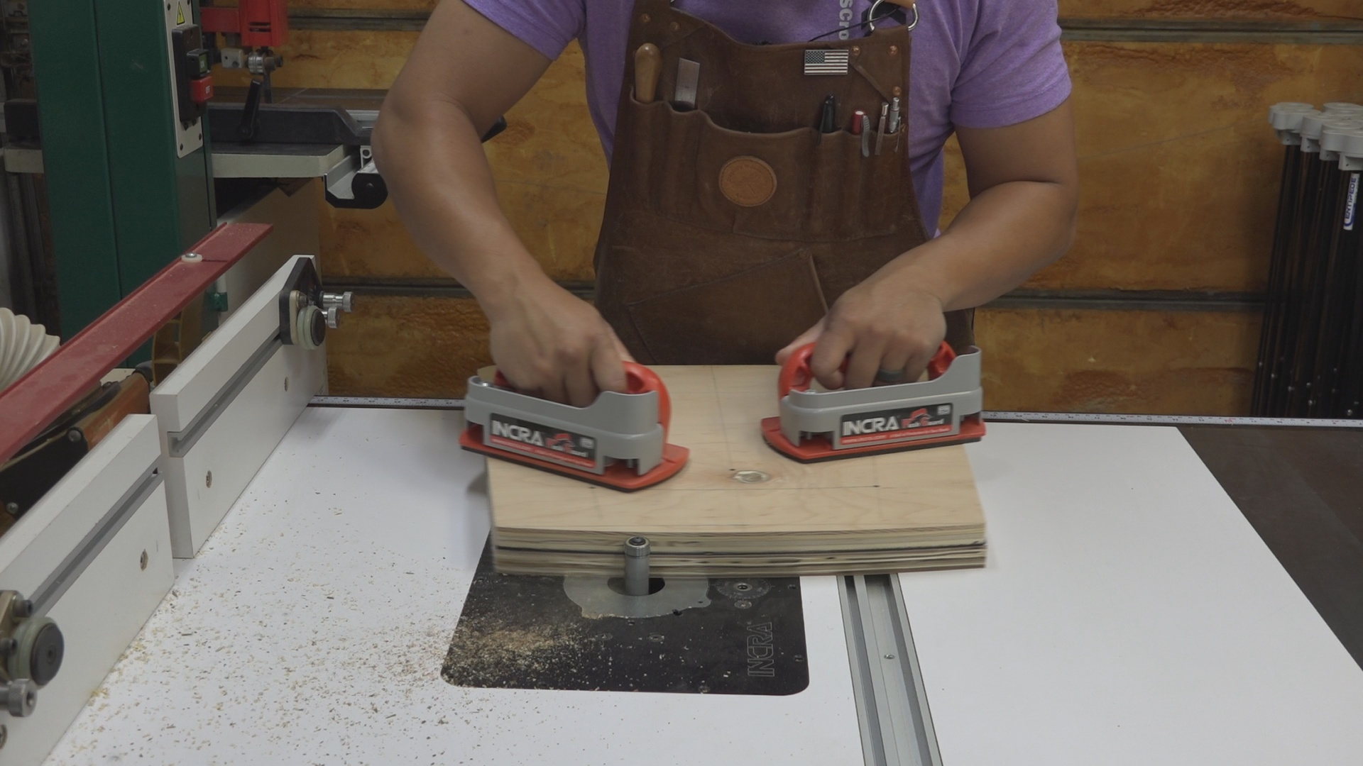 Cutting the final shape on the router table using a pattern router bit.