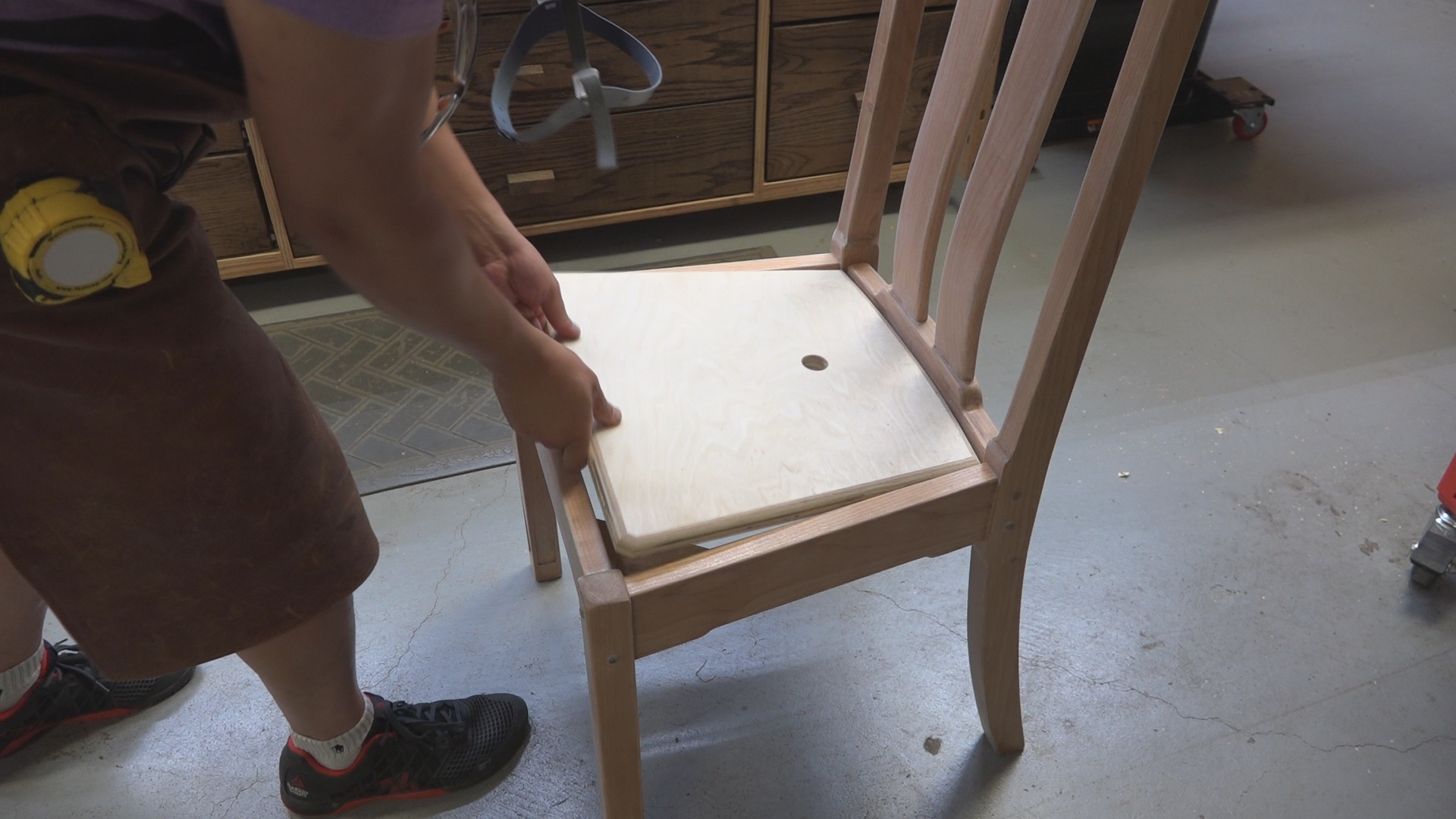 """The chair inserts fit perfectly within the chair rails with about 1/4"""" relief on all sides to allow space for fabric."""