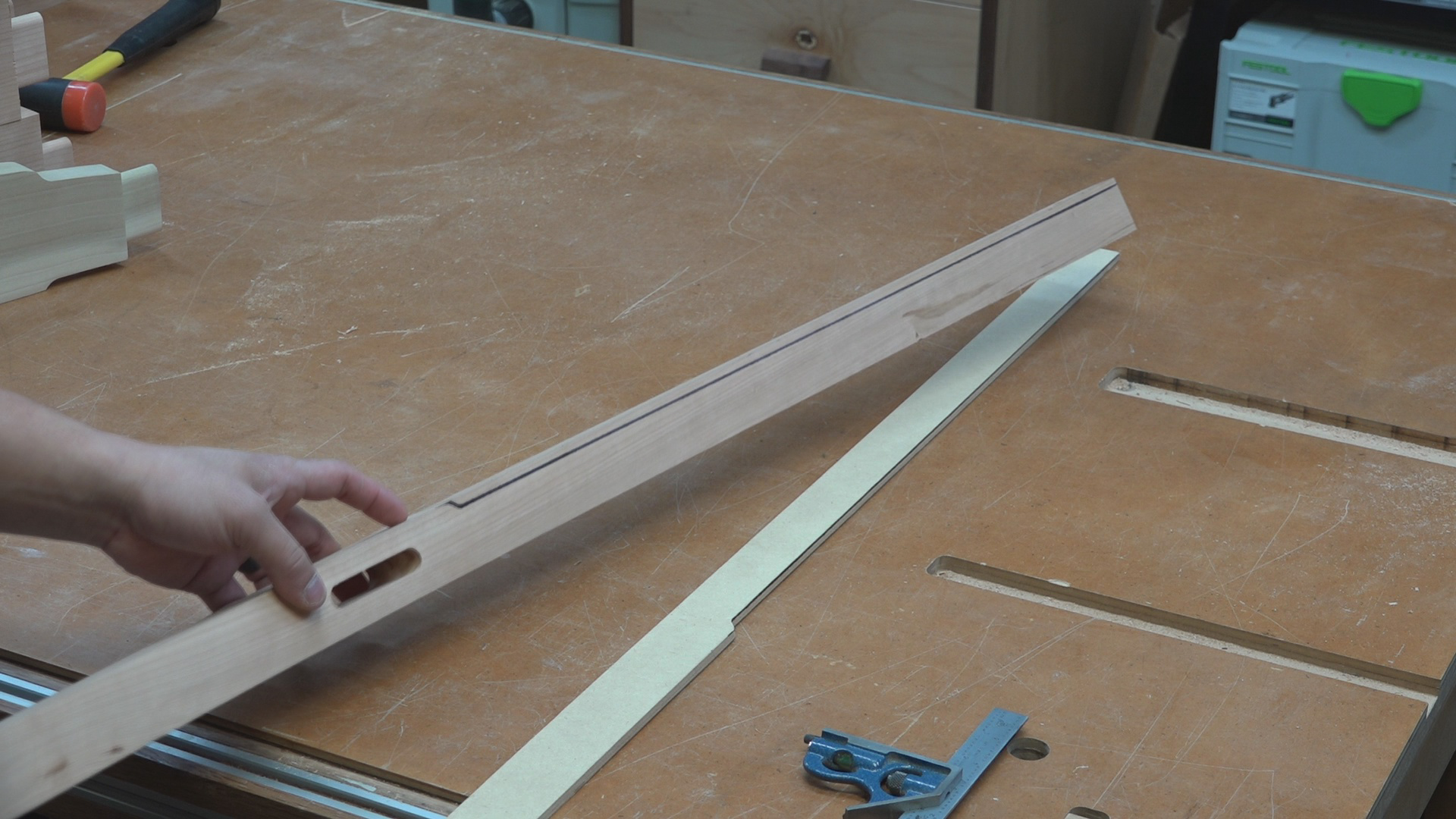 """I first traced the outline of the cloud lift using a 1/4"""" MDF template. The 1/4"""" MDF is flexible making it easier to contour the template to the arc of the rear leg as I trace the outline."""
