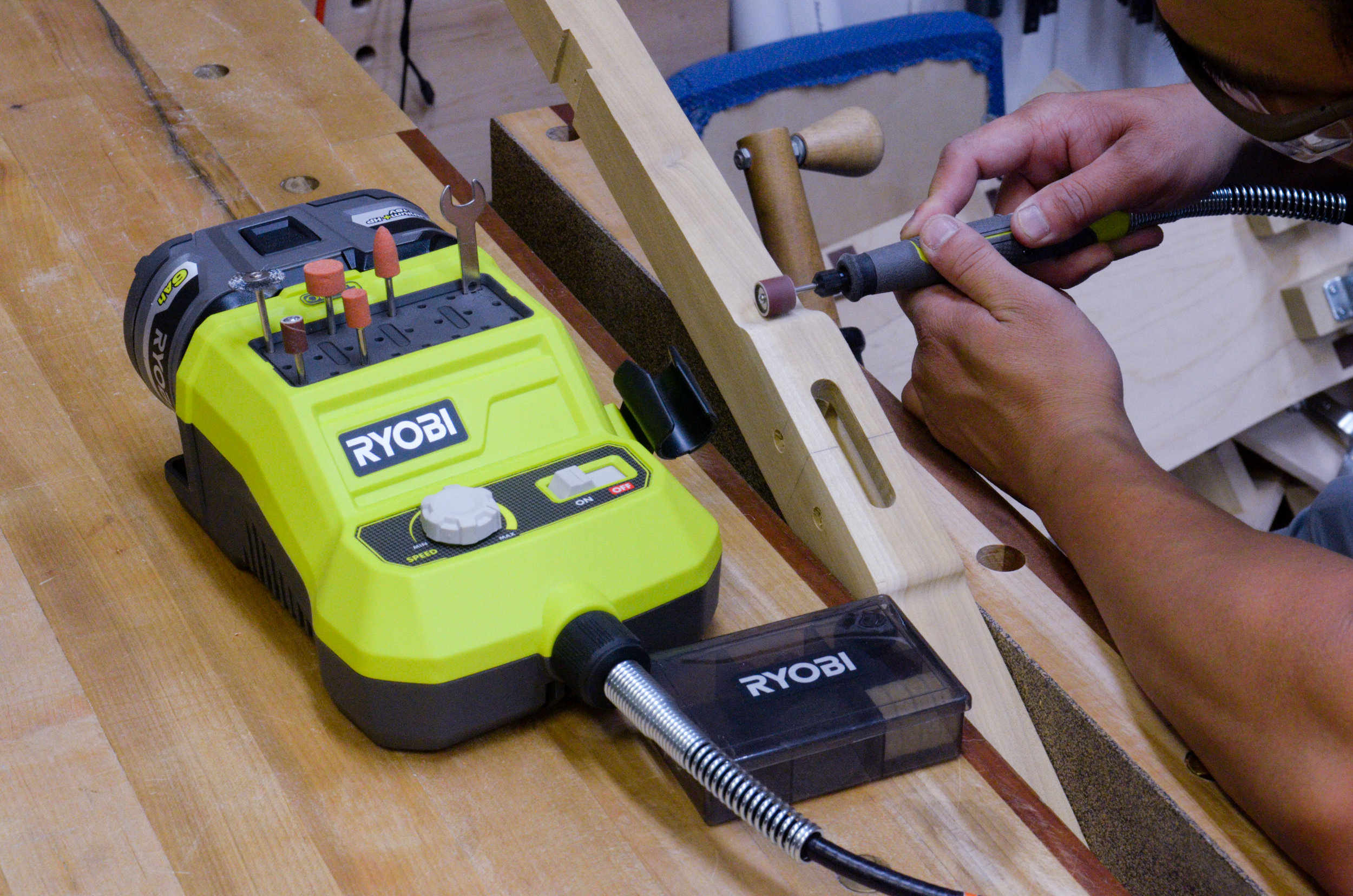 The Ryobi rotary tool would have been perfect to shape some fine detail work on the chairs.