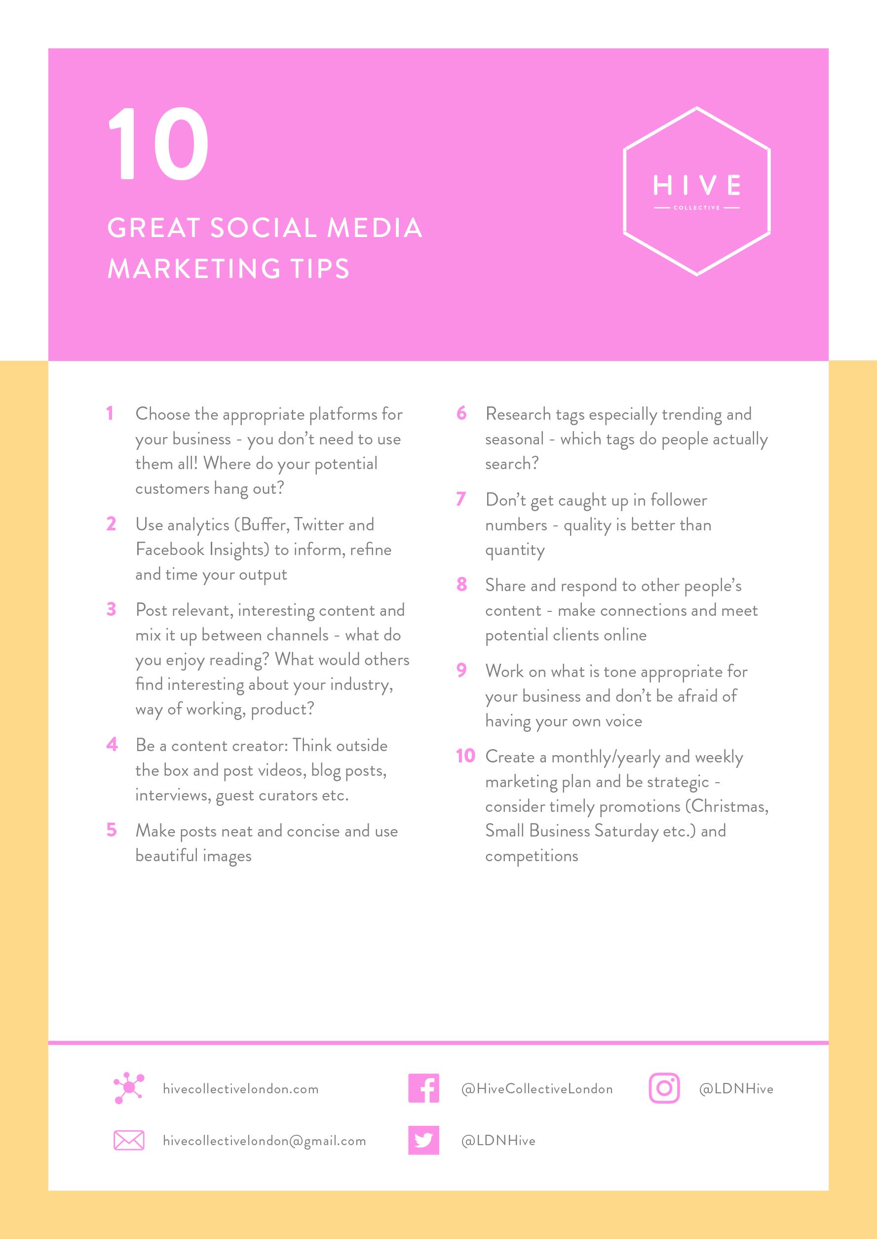Social Media Marketing Tips - From Emma Hammond of Good Egg Soical