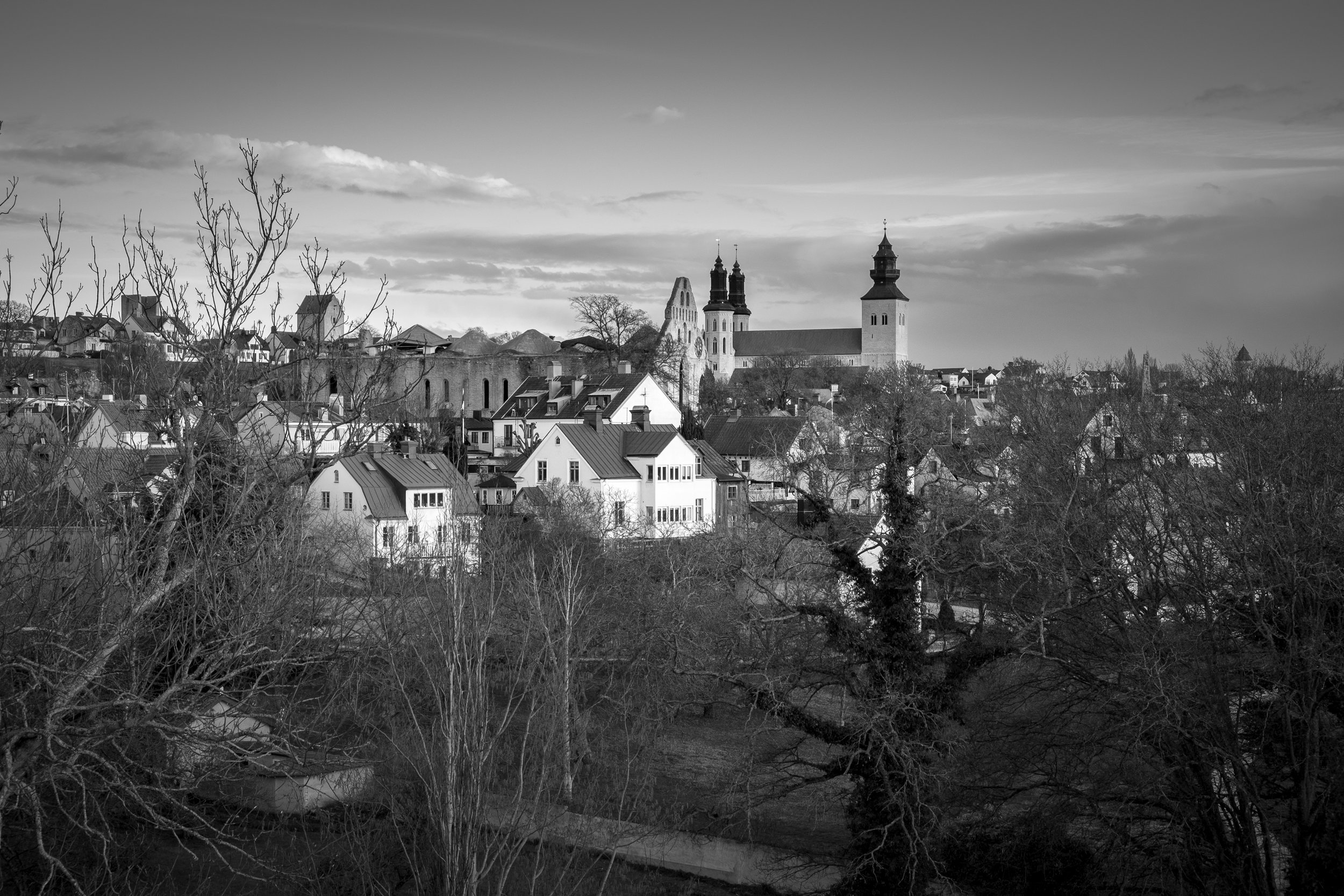 The view over old town Visby from the northern side of the old ring wall.