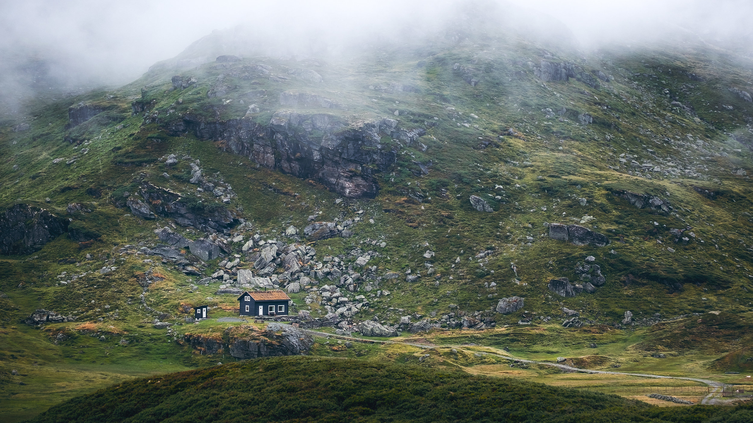 A Moutain cabin in Hordland Fylke near Svandalsflona tunnel entrance