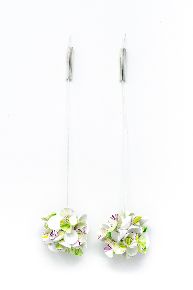 abrams wearable, blossom 6 earrings, contemporary earrings, floral jewelry, modern jewelry, couture