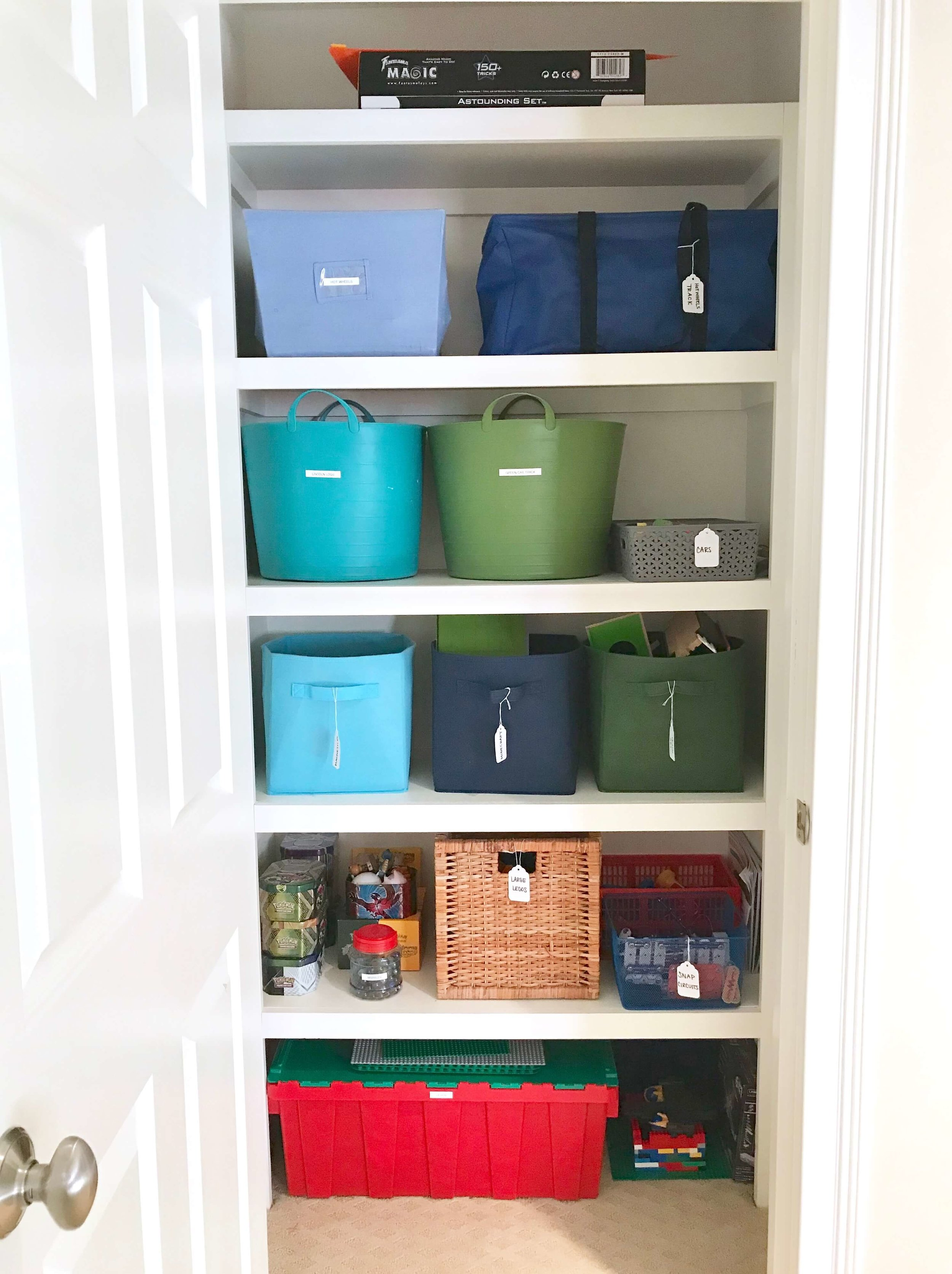 Categorize and label toys and supplies for easy access and a clean organized look.