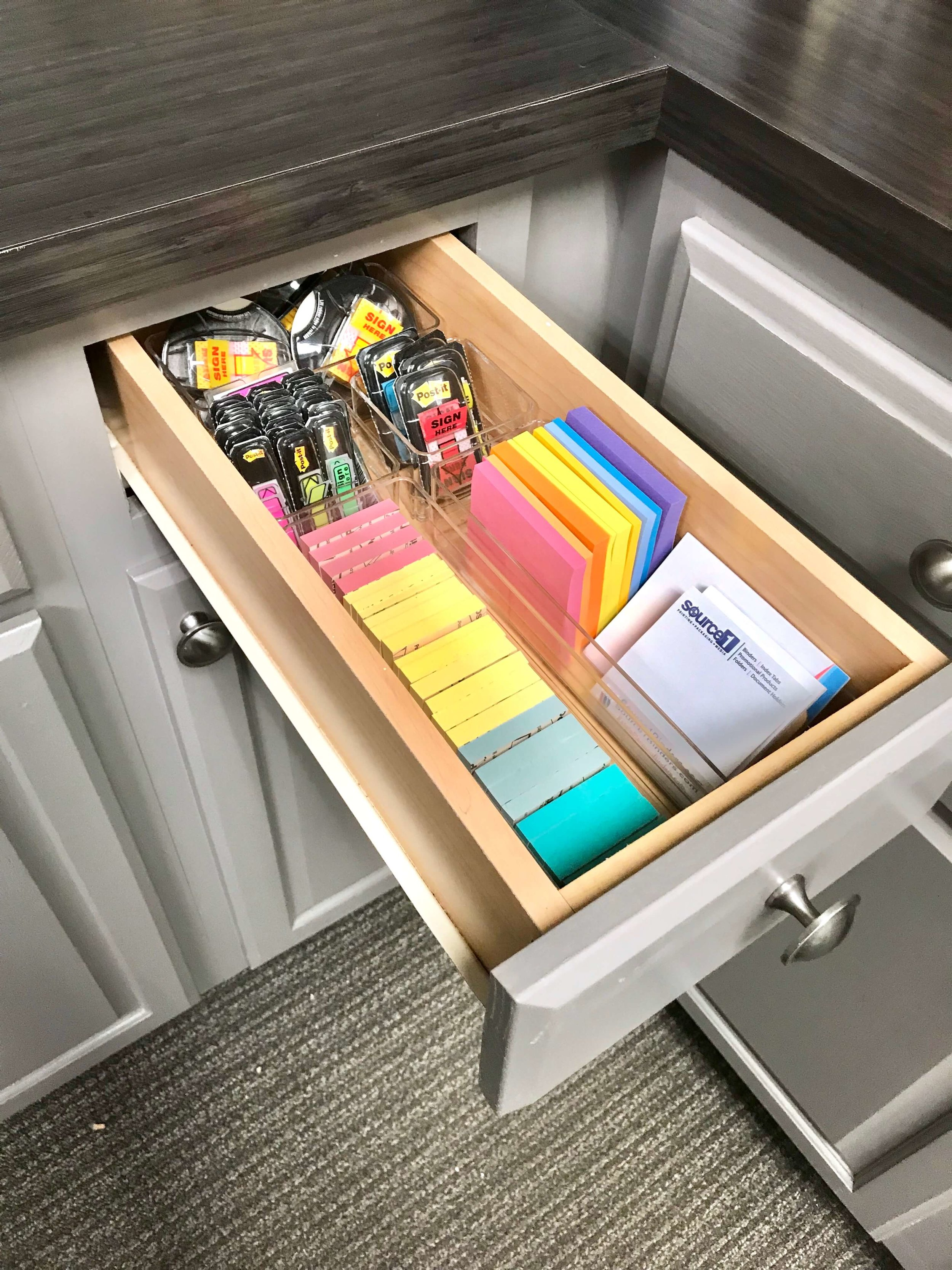 Post-notes are contained in one drawer so they are easy for the whole office to find.