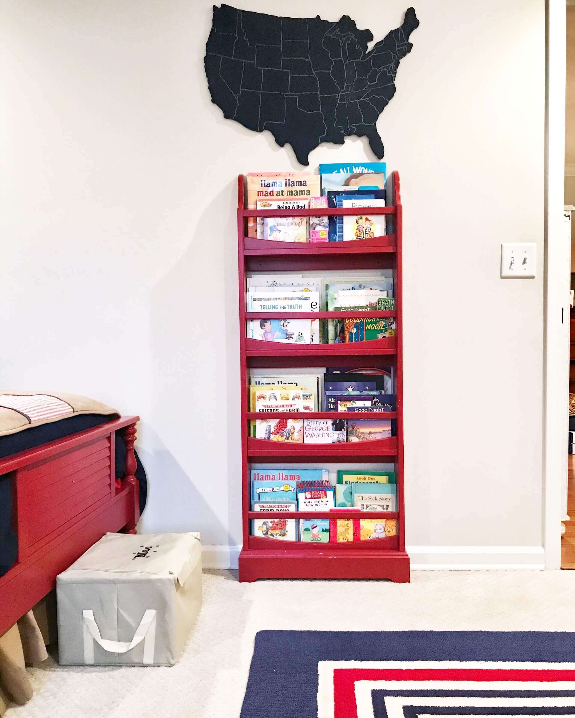 Categorize books by sets and decorate with fun accessories for and organized and styled bookshelf.