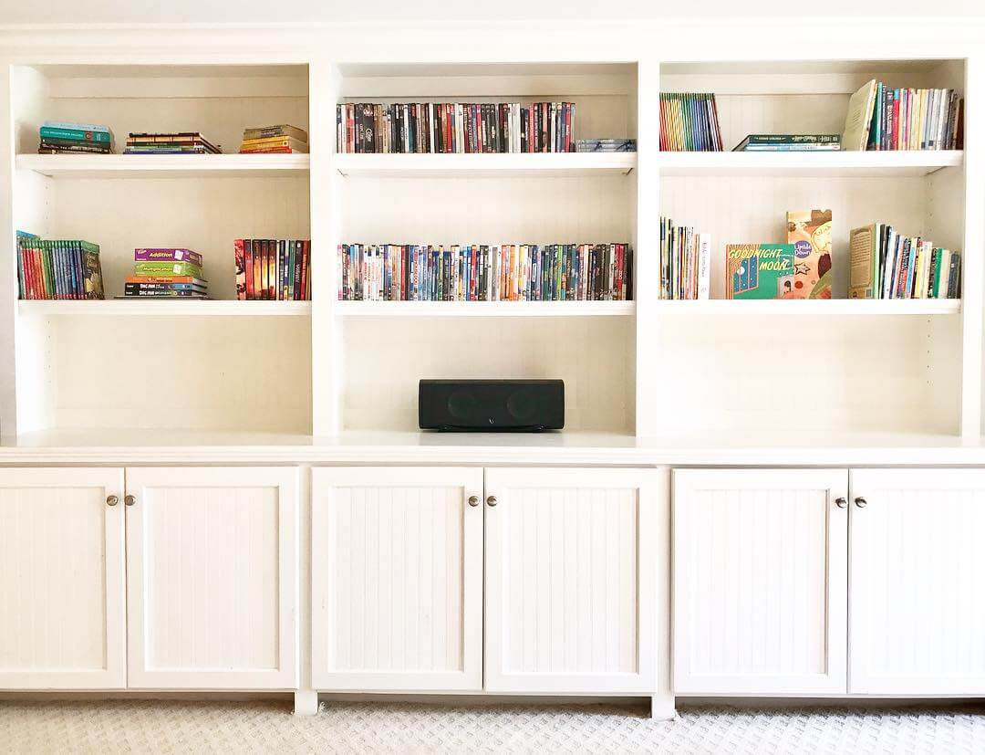 By displaying some books horizontally your bookshelf will feel more balanced.