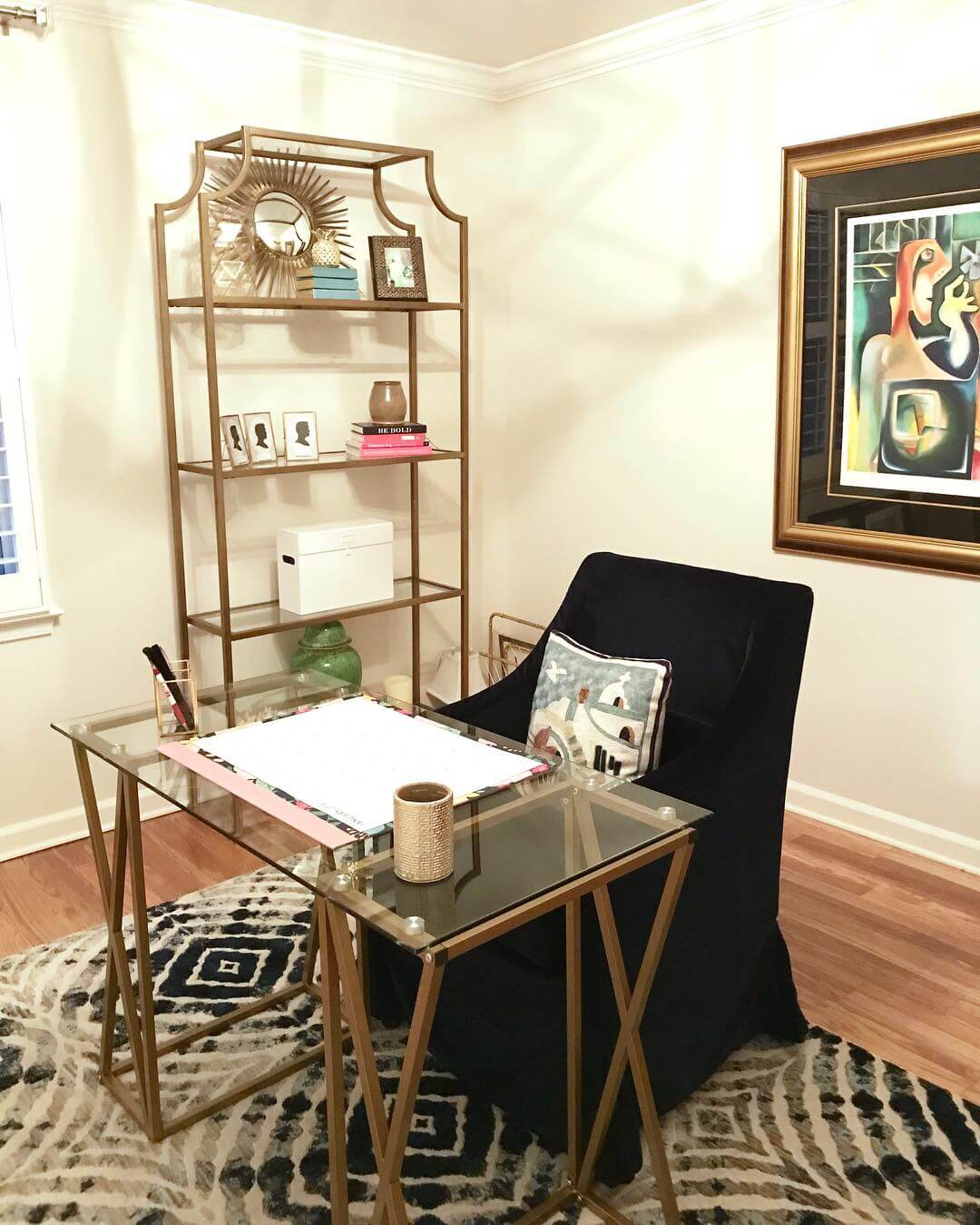 Simple style and function makes this home office perfect.
