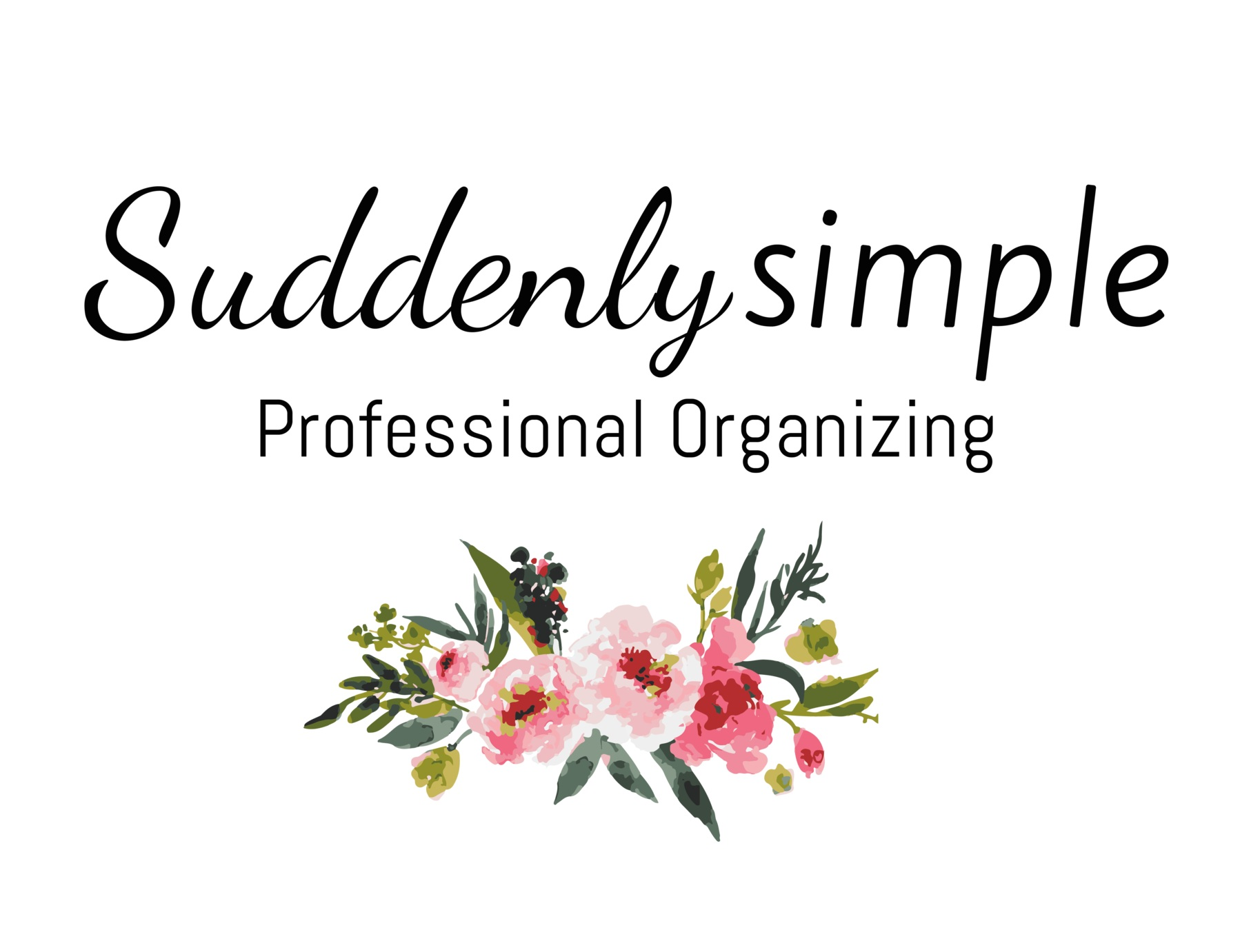 Suddenly Simple Professional Organizing Logo with Flower