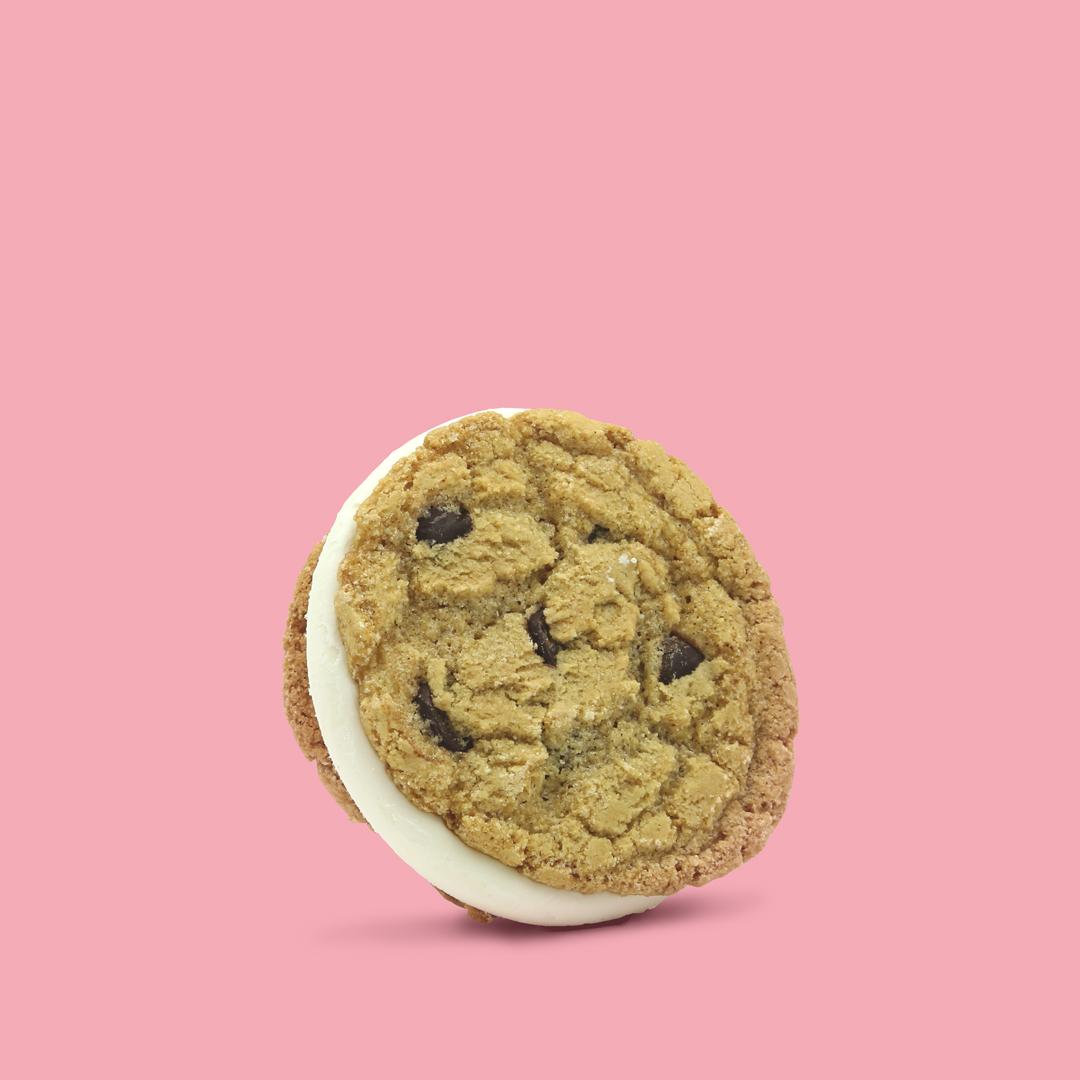CHOCOLATE CHIP SANDO   Chocolate chip cookie •Sweet cream ice cream