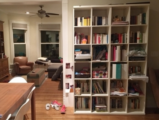 Book shelves are like stuff sponges, absorbing everything we throw at them.