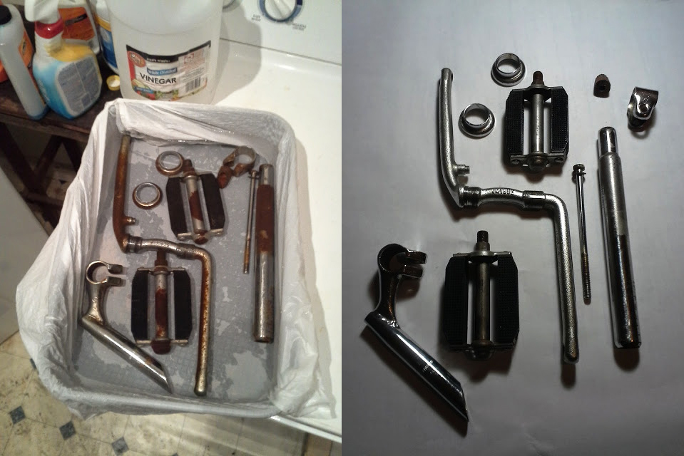 A vinegar bath, wire brush, and polish revive rusted parts.