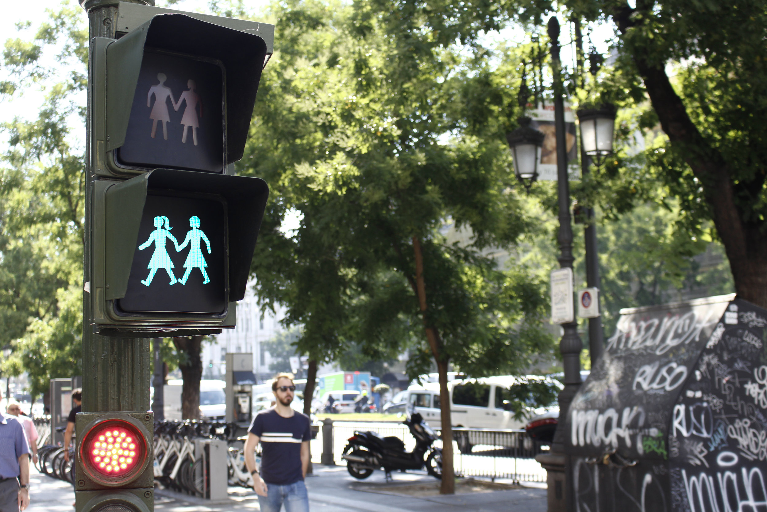 OUT: Madrid Installs 'Gay-Friendly' Crosswalk Signs Ahead of WorldPride